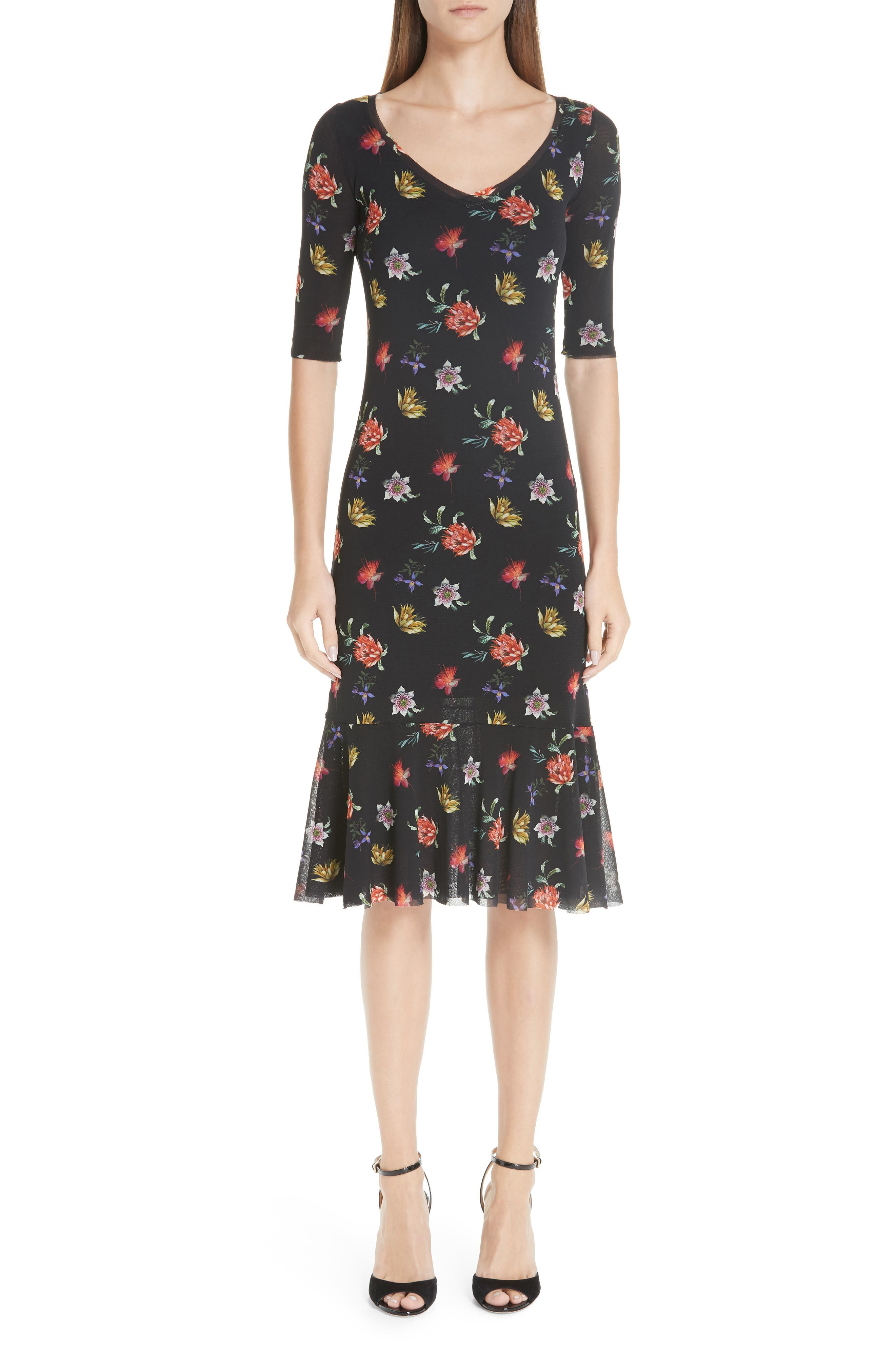 Fuzzi Floral Tulle Dress, Black