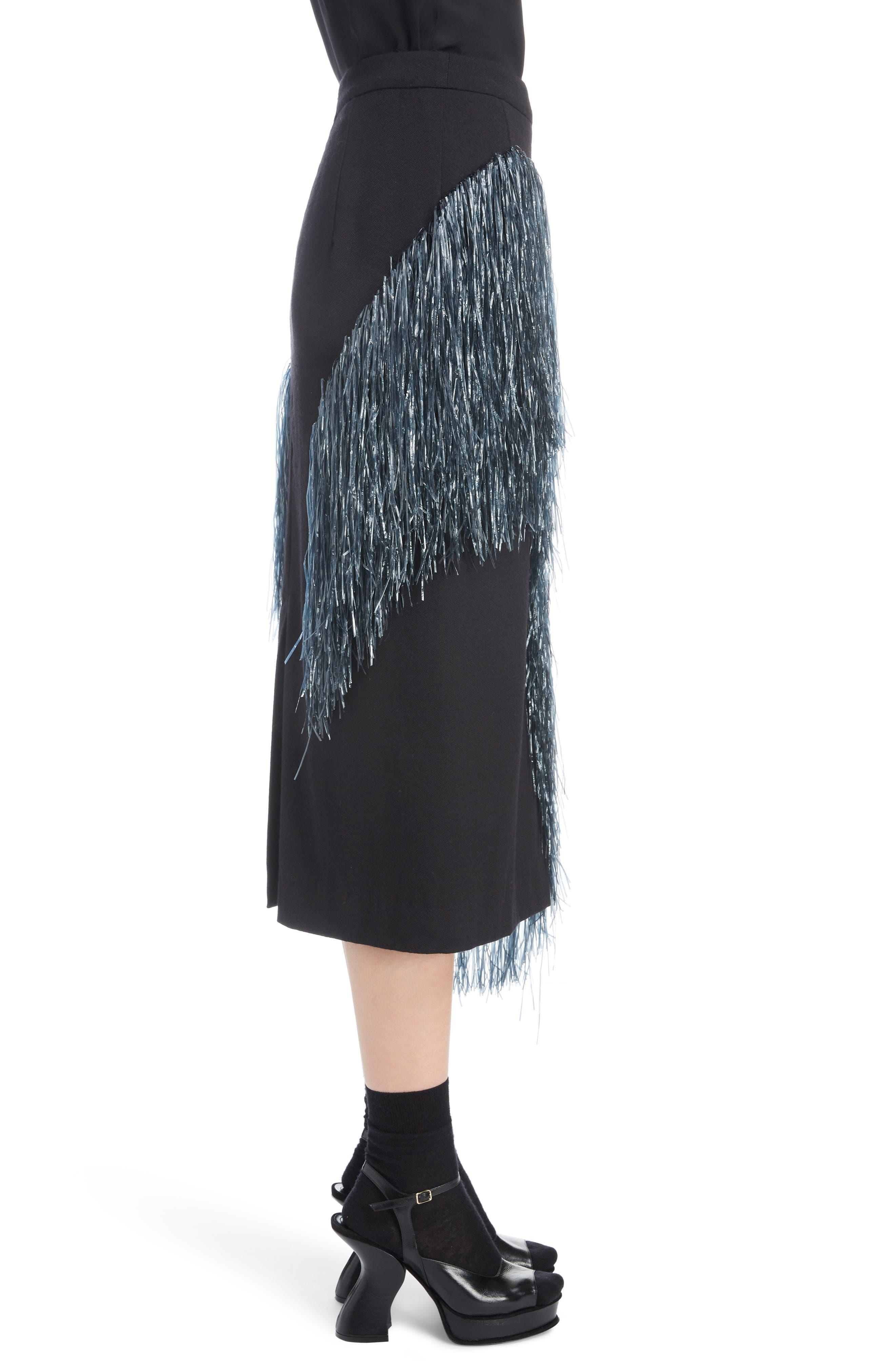 Raffia Fringe Skirt,                             Alternate thumbnail 3, color,                             ANTHRACITE