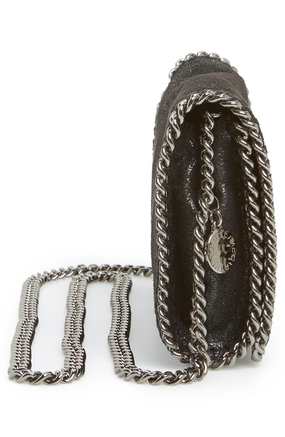 'Falabella - Shaggy Deer' Faux Leather Crossbody Bag,                             Alternate thumbnail 10, color,                             BLACK SLVR HRDWR