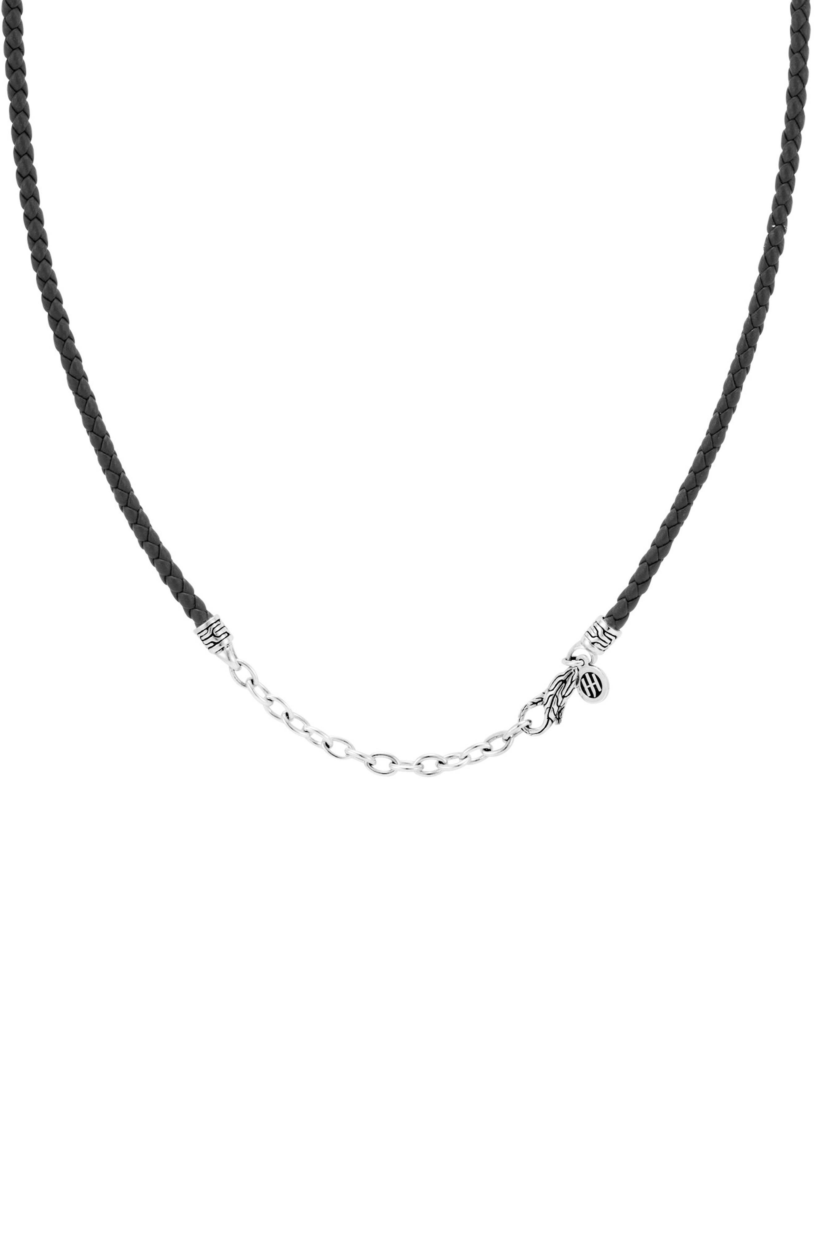 Leather Cord Necklace,                         Main,                         color, SILVER/ BLACK