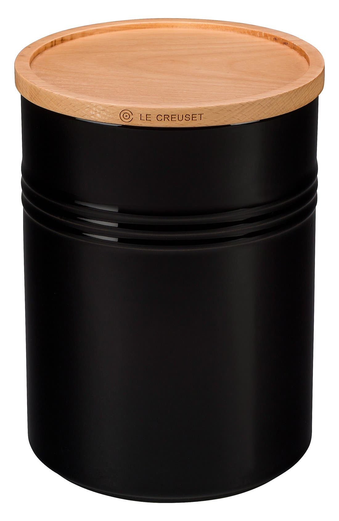 LE CREUSET,                             Glazed 22 Ounce Stoneware Storage Canister with Wooden Lid,                             Main thumbnail 1, color,                             BLACK ONYX