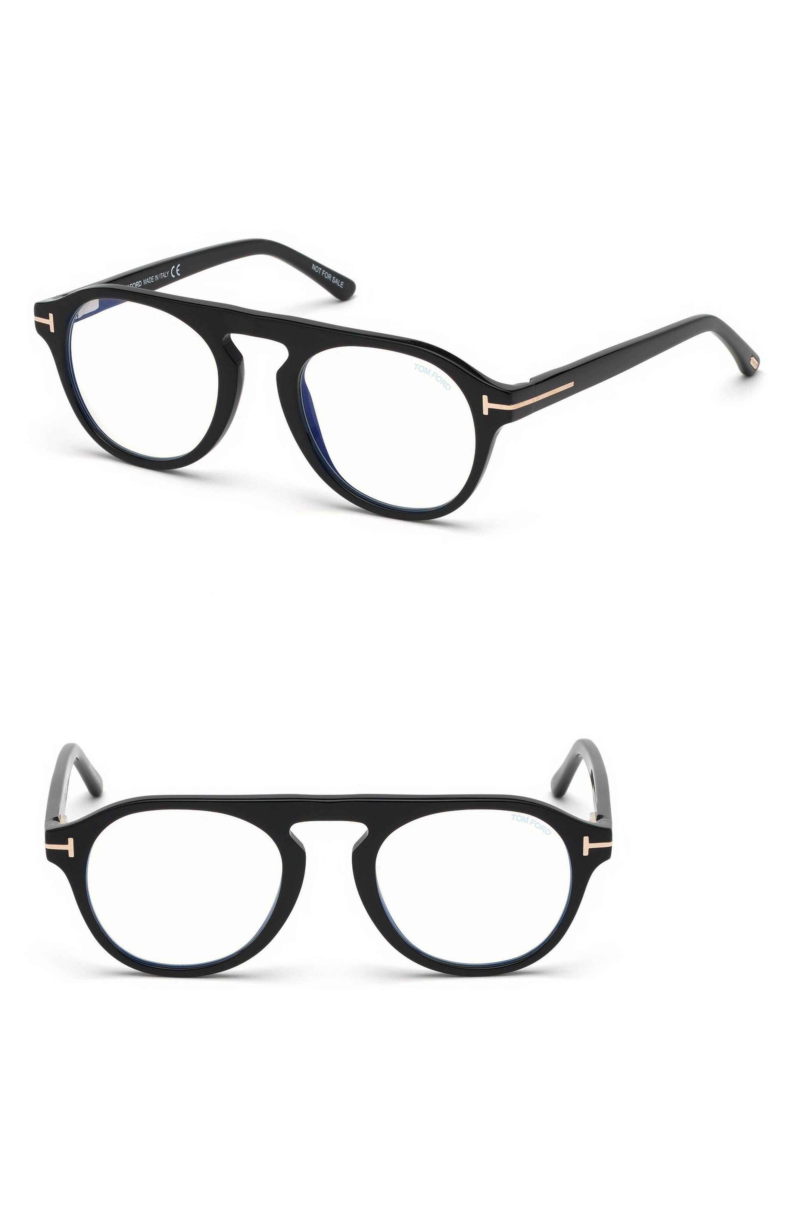 Blueblock 49mm Sunglasses with Clip-On Lens,                         Main,                         color, BLACK