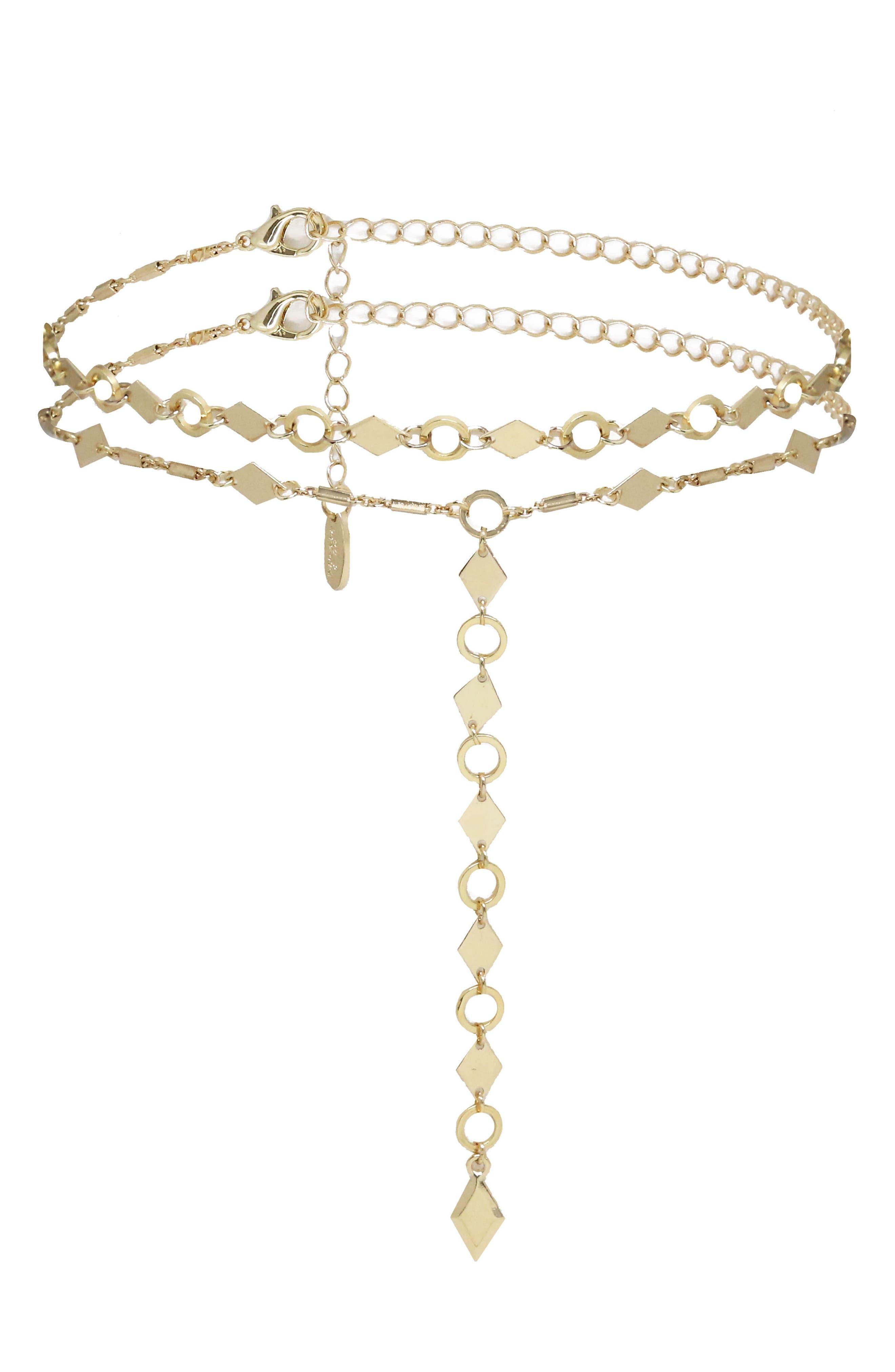 Set of 2 Geo Choker Lariat Necklaces,                             Main thumbnail 1, color,                             710