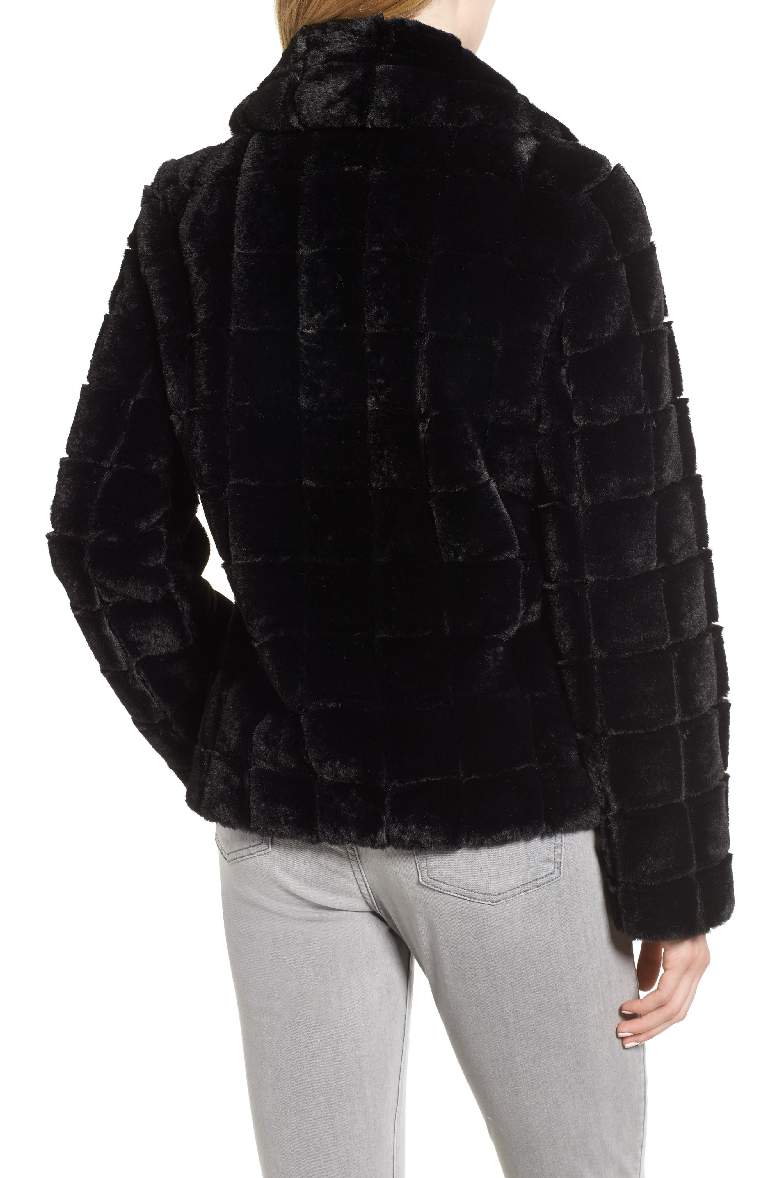 Quilted Faux Fur Jacket,                             Alternate thumbnail 2, color,                             001