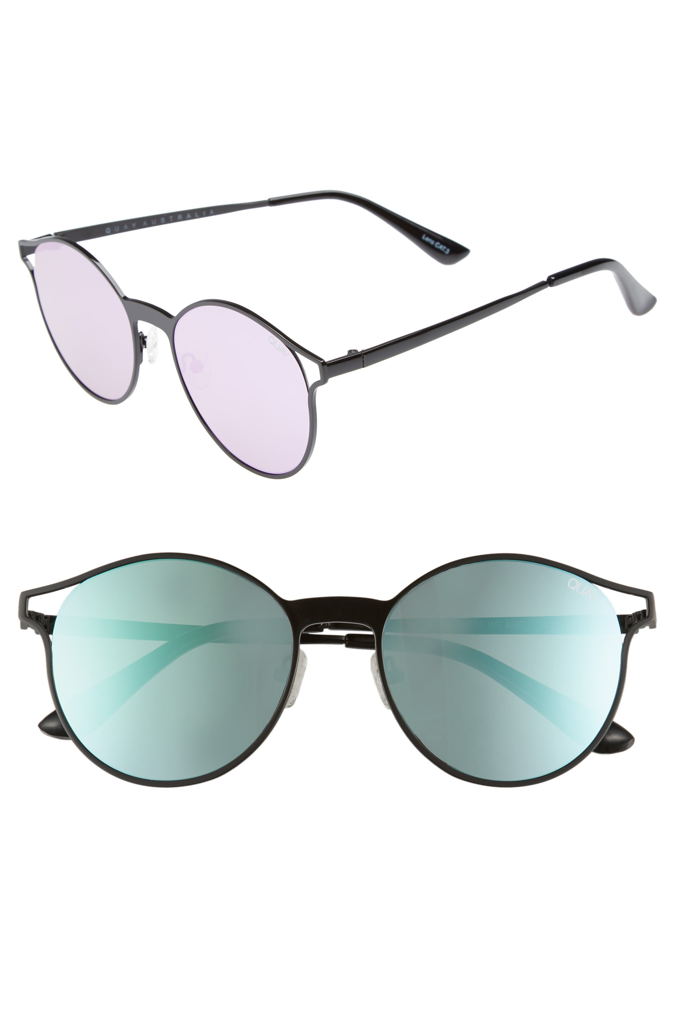 Here We Are 53mm Round Sunglasses,                         Main,                         color, BLACK/ PURPLE