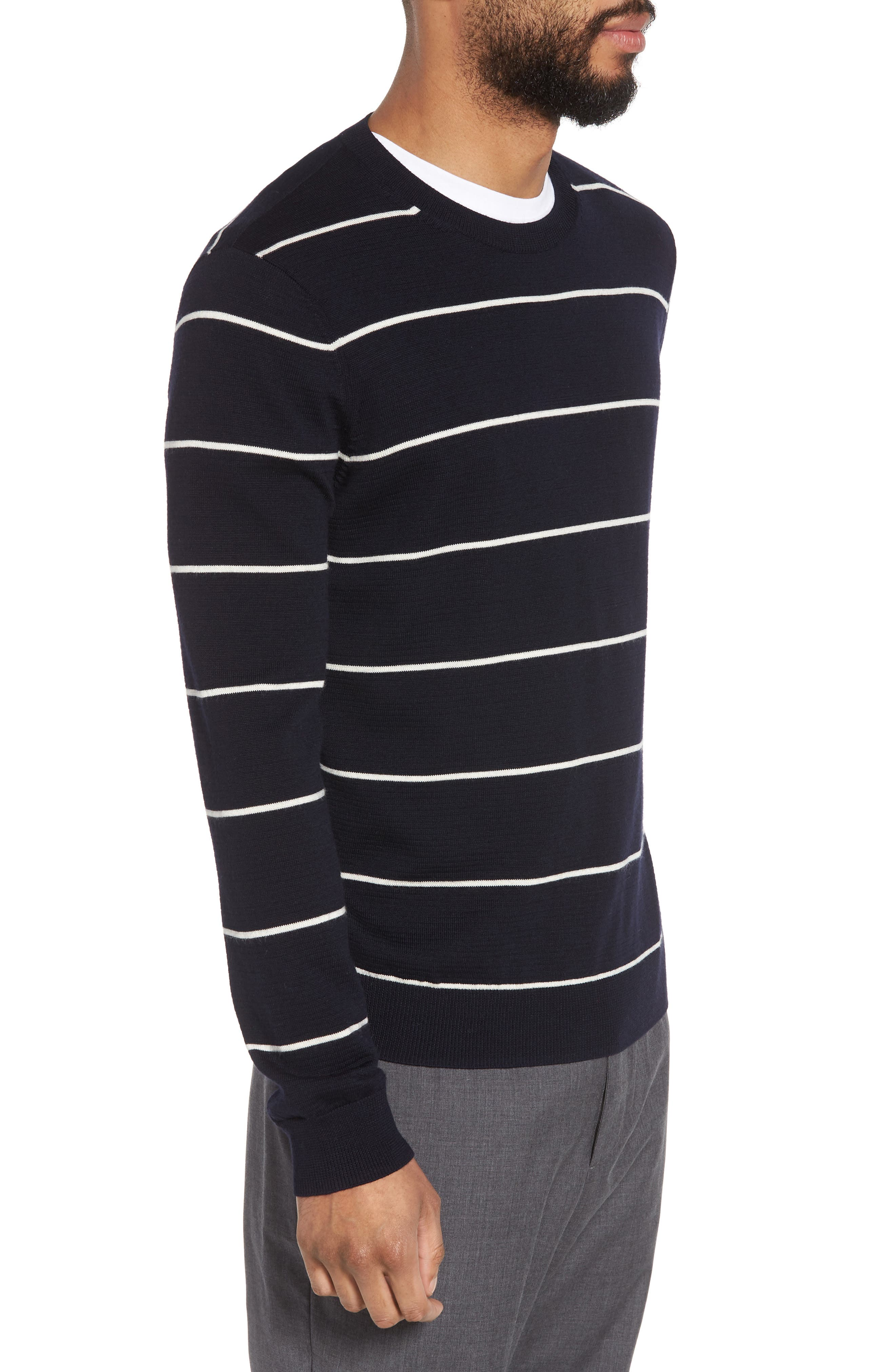 Slim Fit Stripe Crewneck Sweater,                             Alternate thumbnail 3, color,                             477