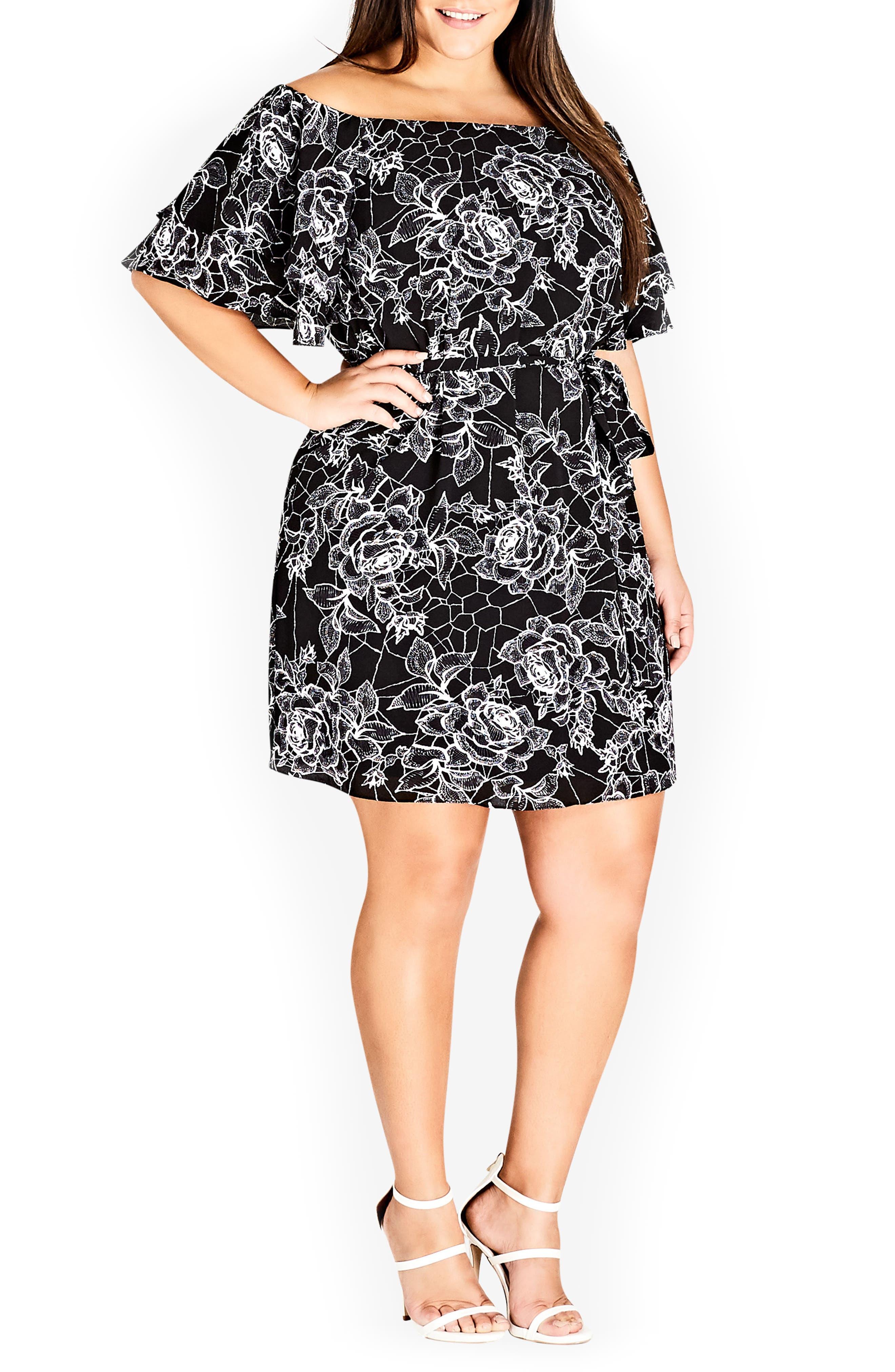Rose Print Off the Shoulder Dress,                         Main,                         color, ROSE WEB
