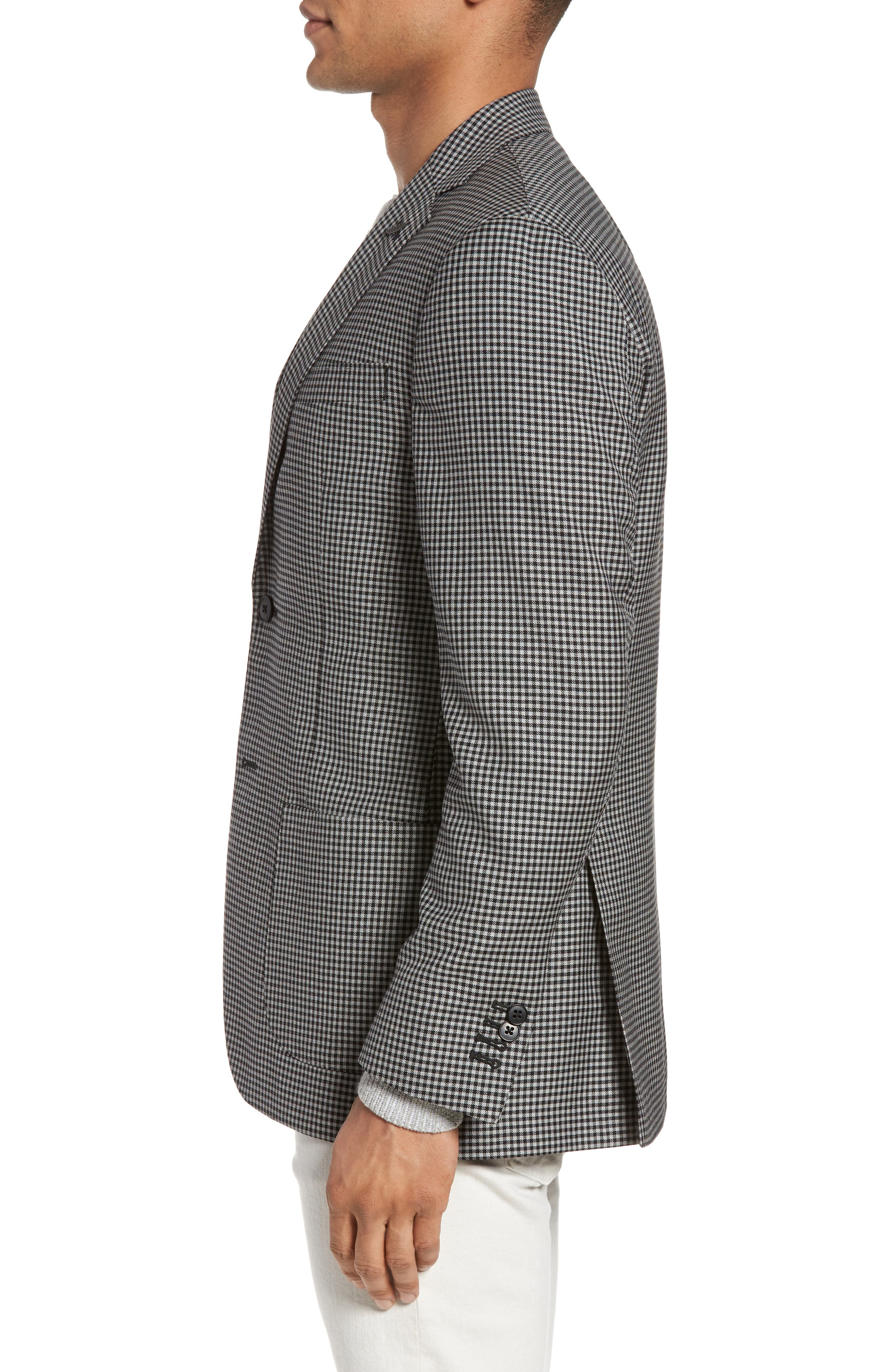 Classic Fit Check Wool Sport Coat,                             Alternate thumbnail 3, color,                             002