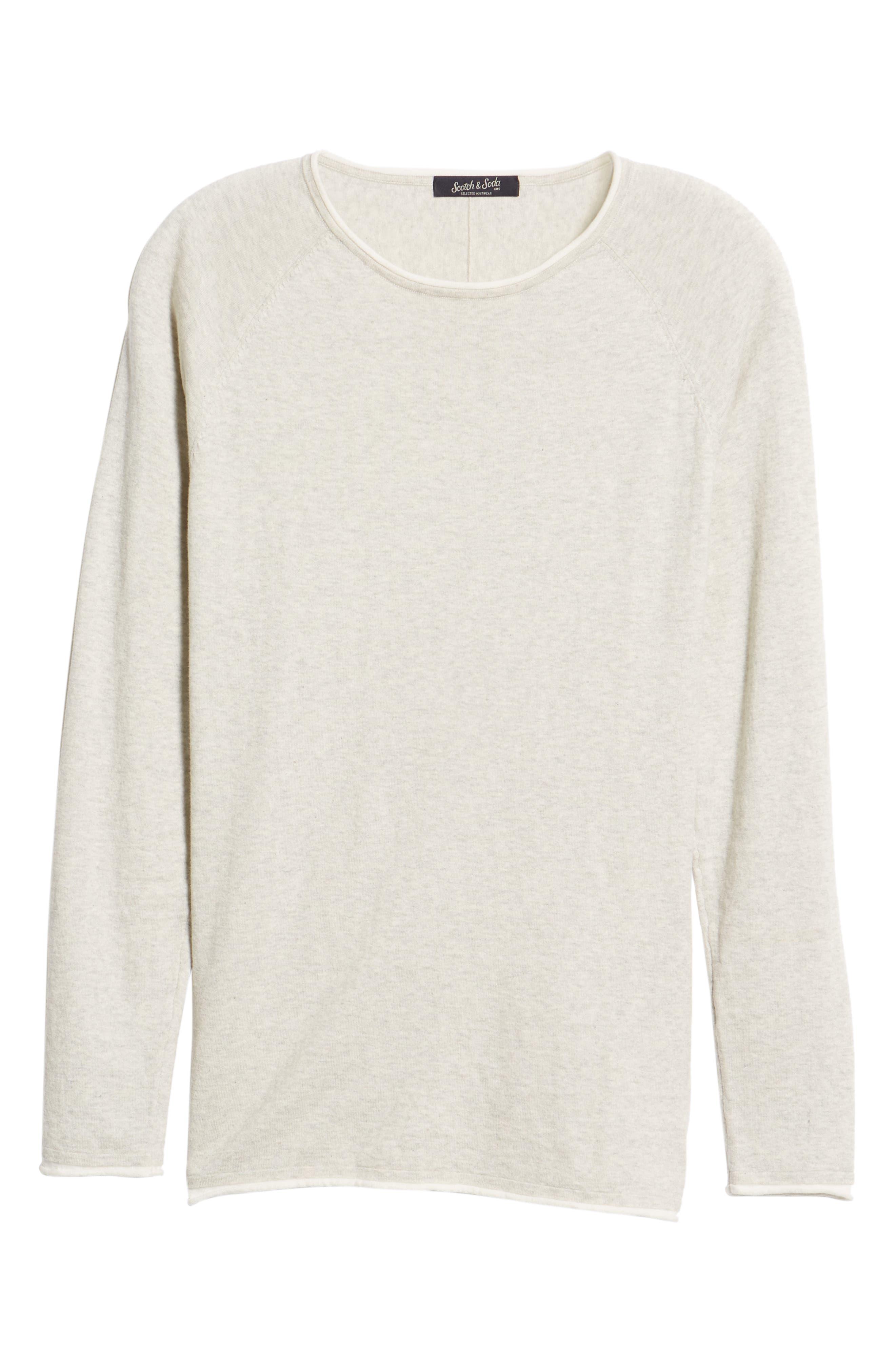 Crewneck Sweatshirt,                             Alternate thumbnail 6, color,                             BONE WHITE MELANGE
