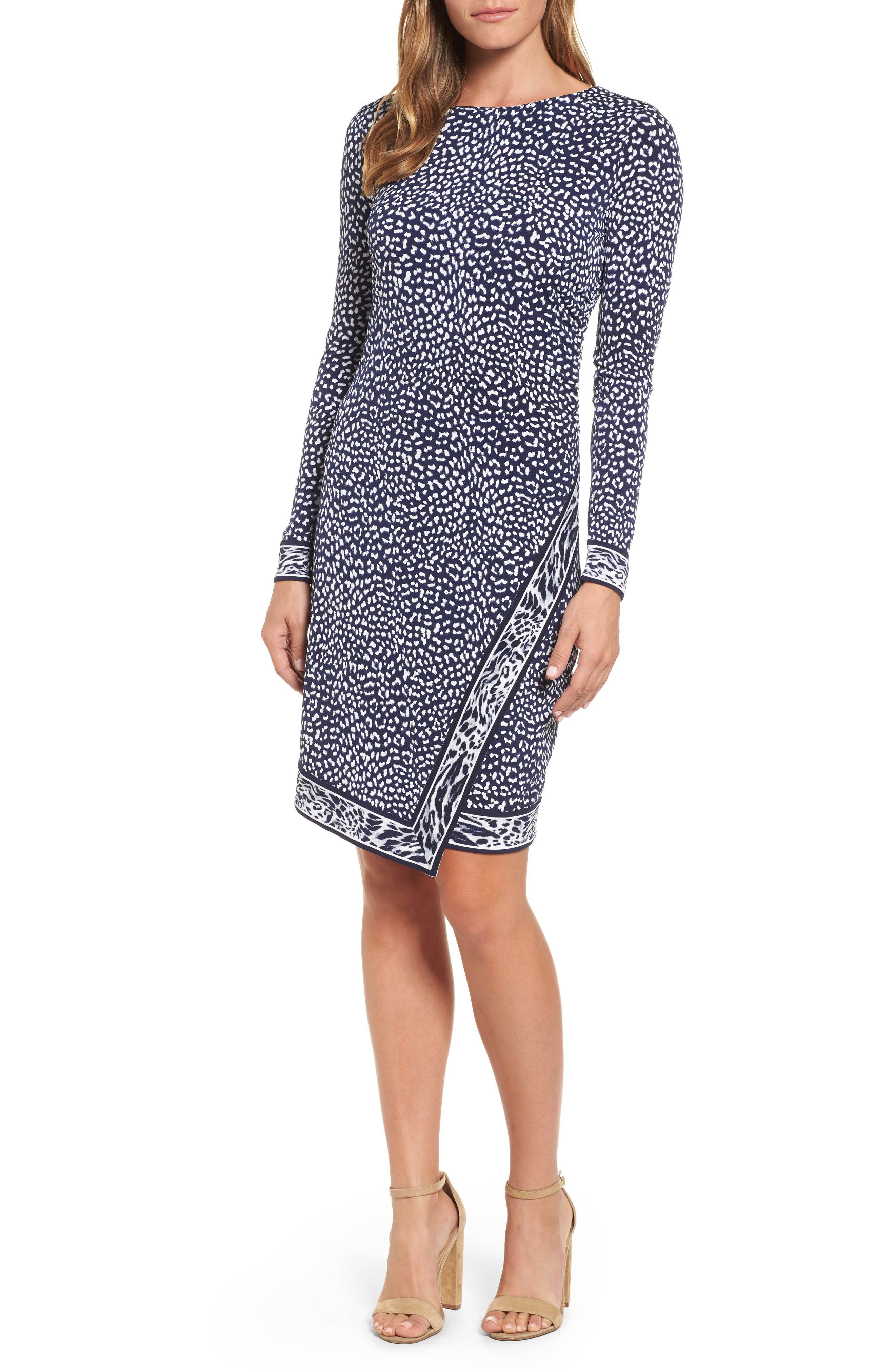 Cheetah Border Print Sheath Dress,                         Main,                         color, 456