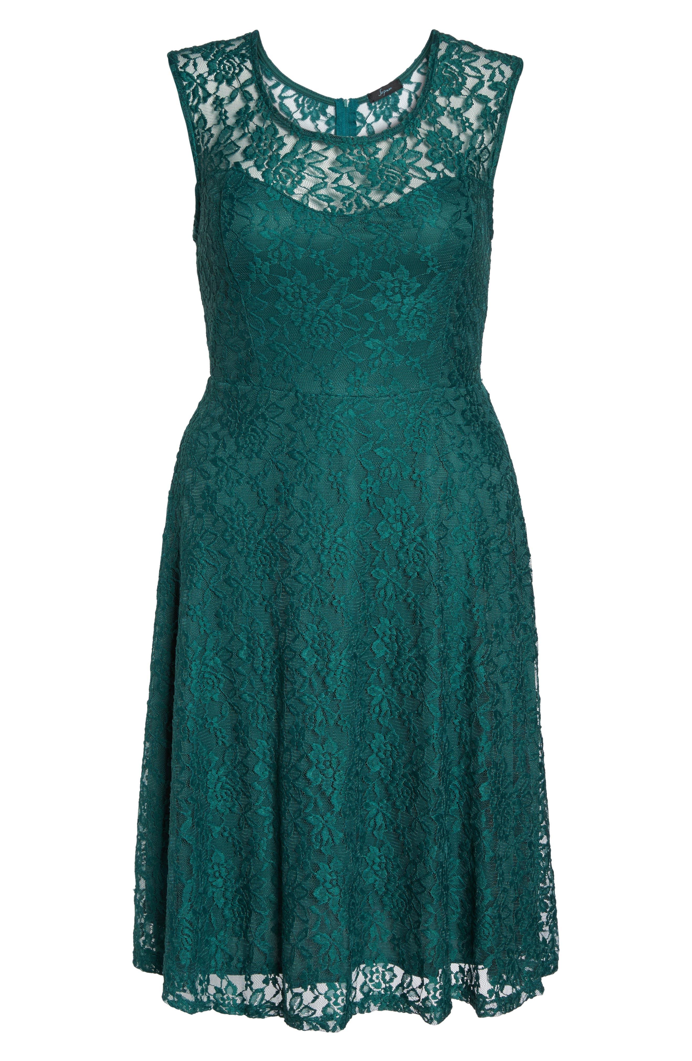 Lace Skater Dress,                             Alternate thumbnail 6, color,                             363
