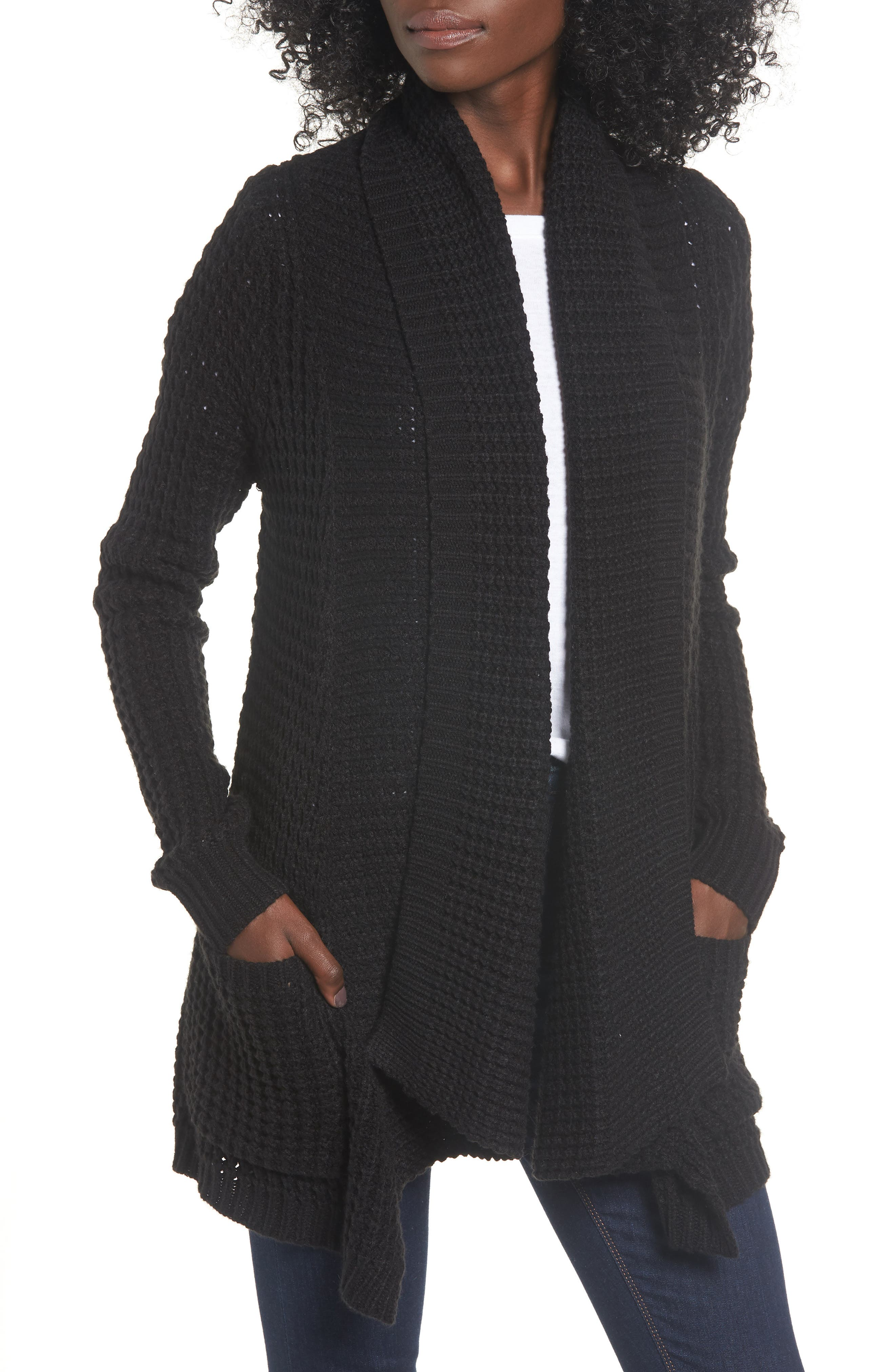 Shambala Knit Cardigan,                             Main thumbnail 1, color,                             BLACK