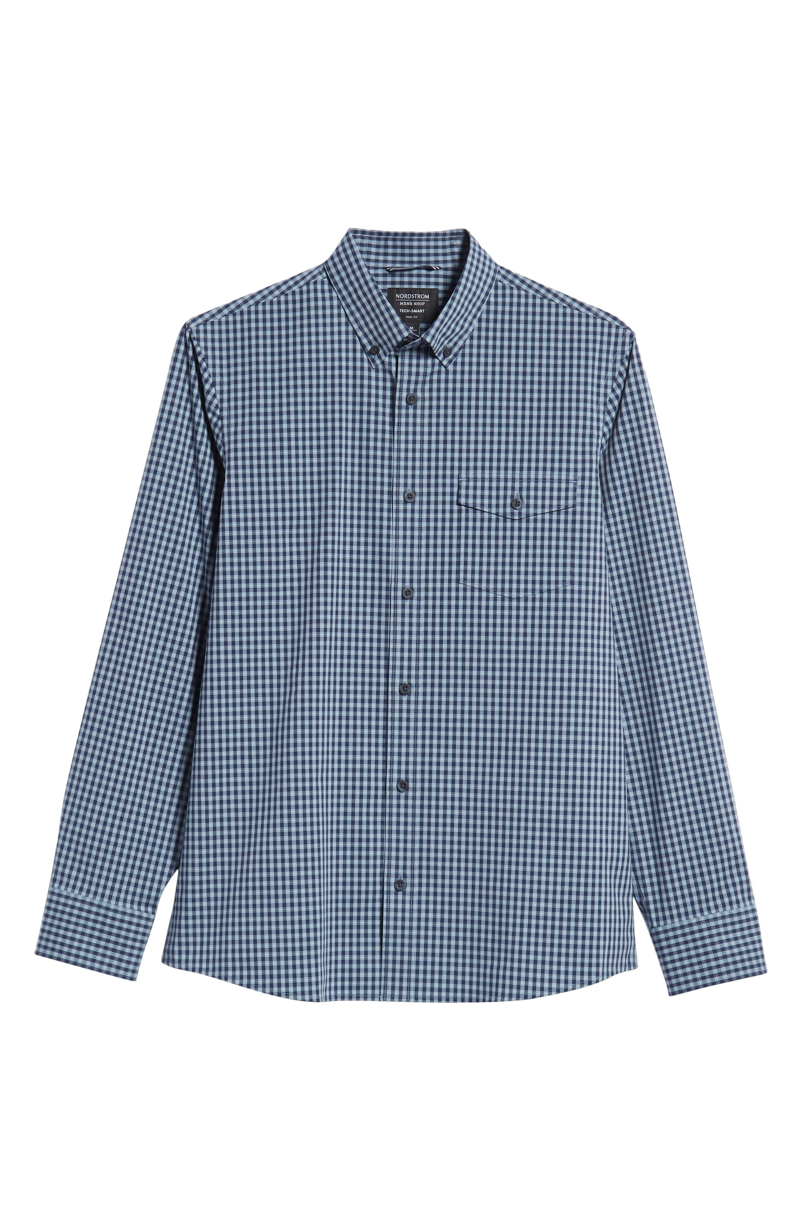 Tech-Smart Slim Fit Check Sport Shirt,                             Alternate thumbnail 5, color,                             NAVY NIGHT BLUE CHECK