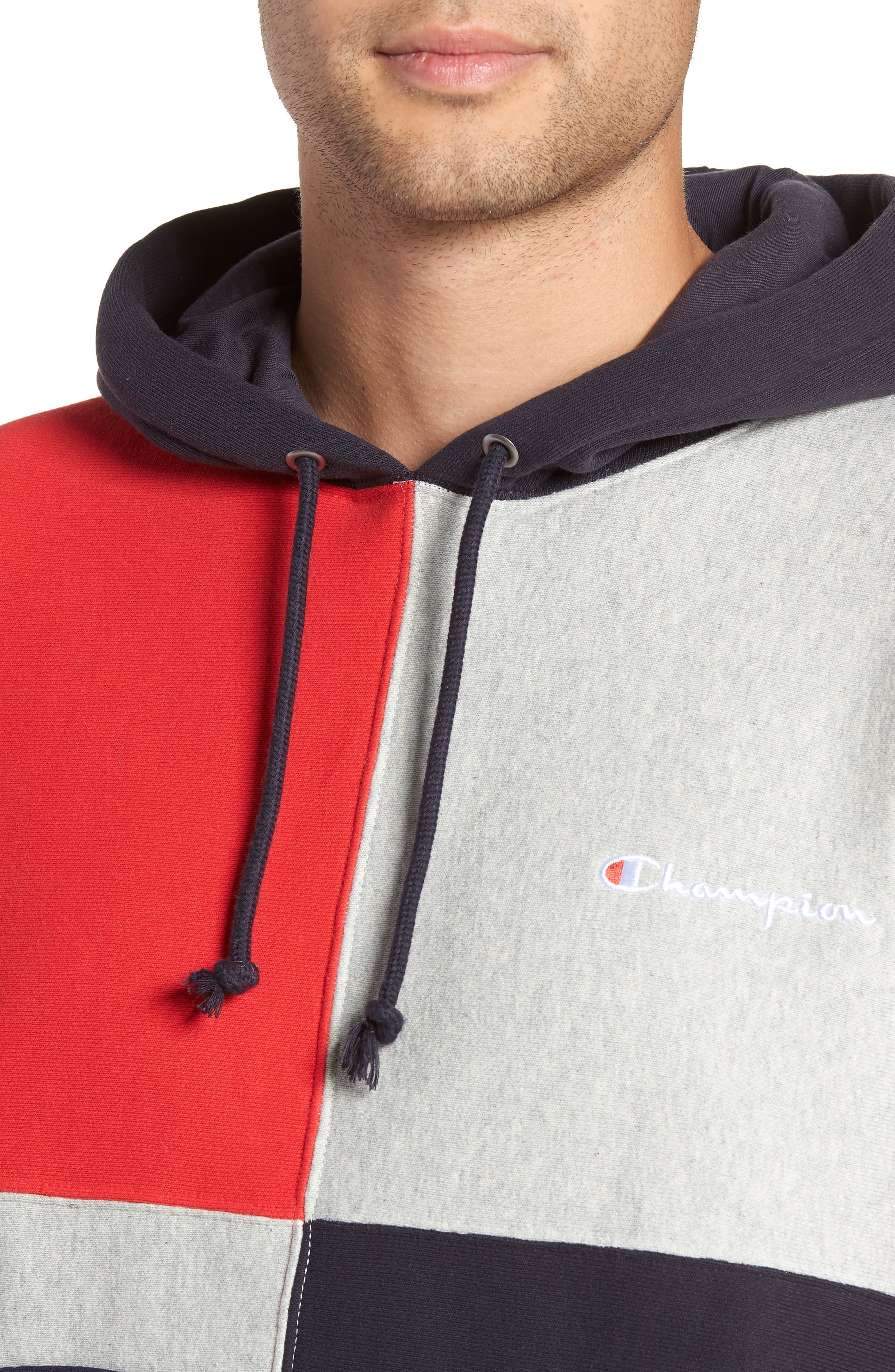 Colorblock Hoodie,                             Alternate thumbnail 4, color,                             NAVY/ OXFORD GREY/ SCARLET