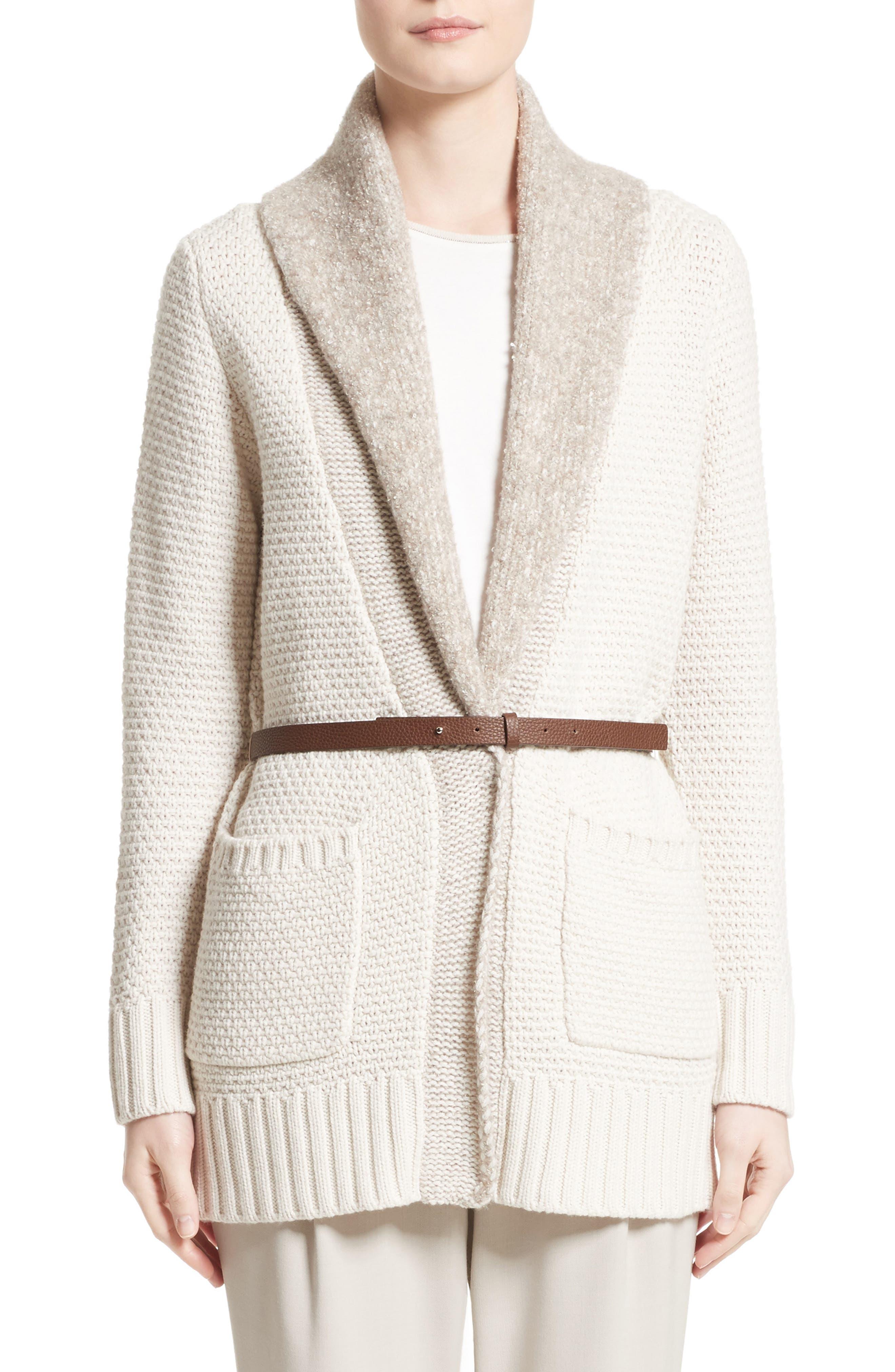 Wool, Silk & Cashmere Knit Cardigan,                             Main thumbnail 1, color,                             101
