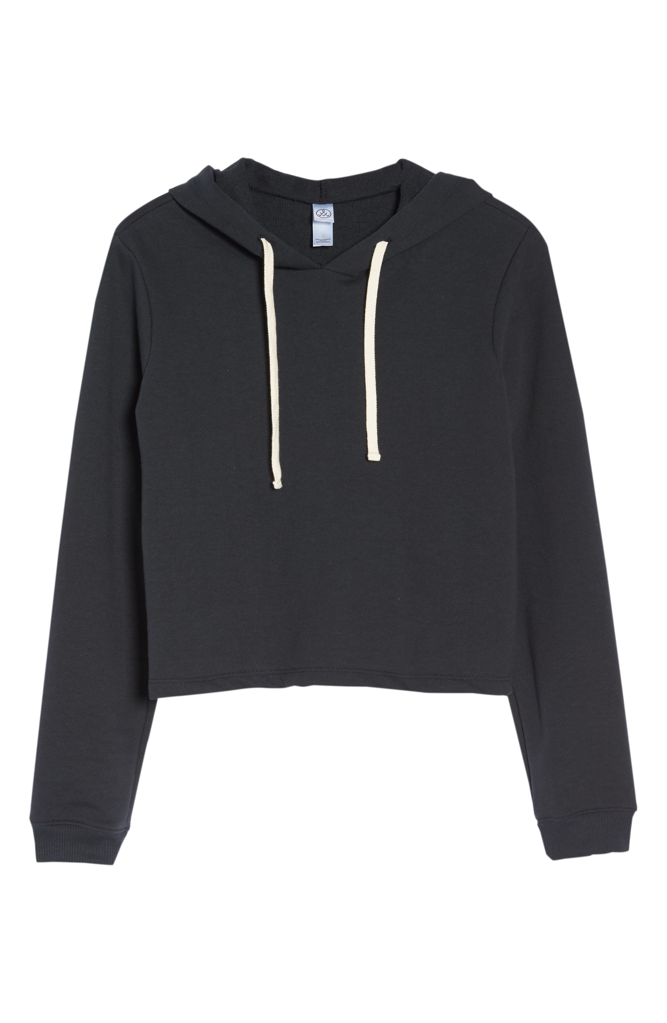 Cropped Terry Hoodie,                             Alternate thumbnail 6, color,                             001