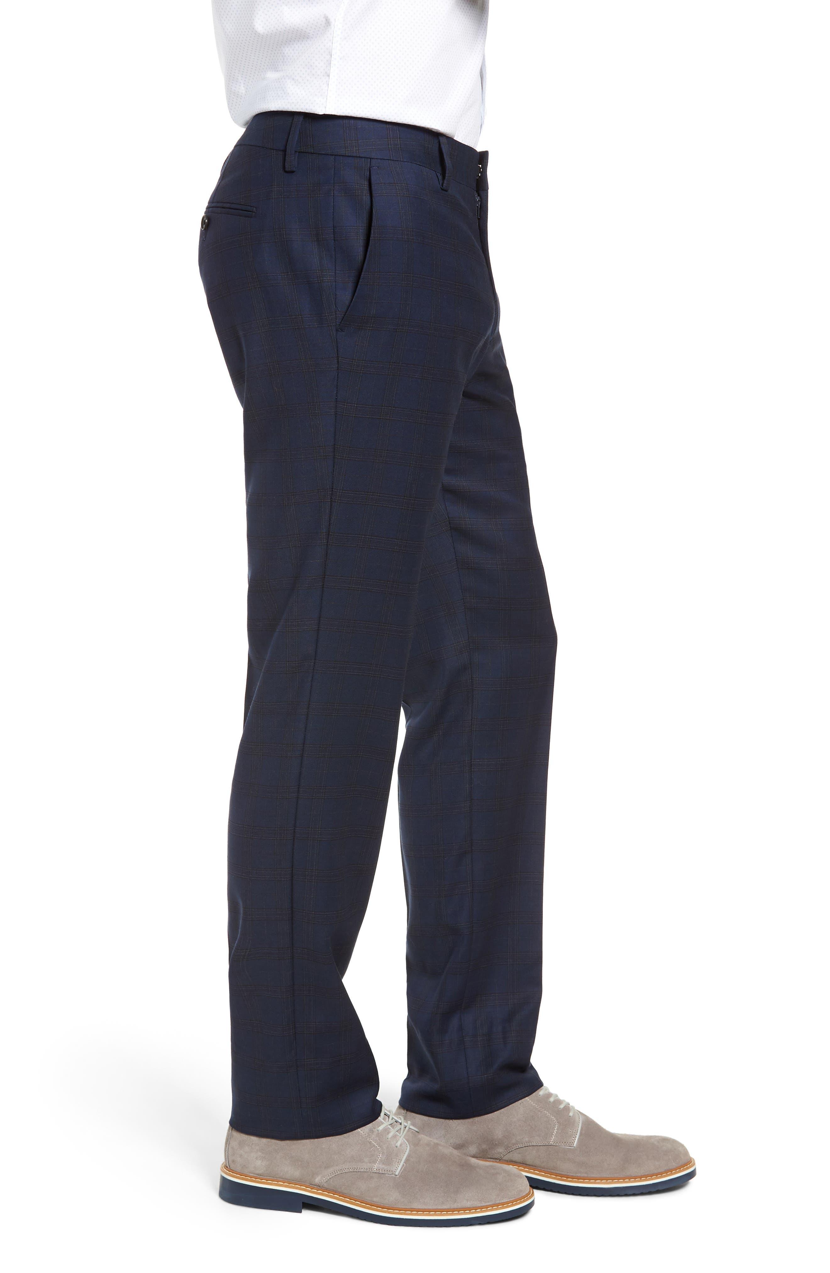 Jetsetter Slim Fit Stretch Suit Pants,                             Alternate thumbnail 3, color,                             SUBTLE NAVY PLAID