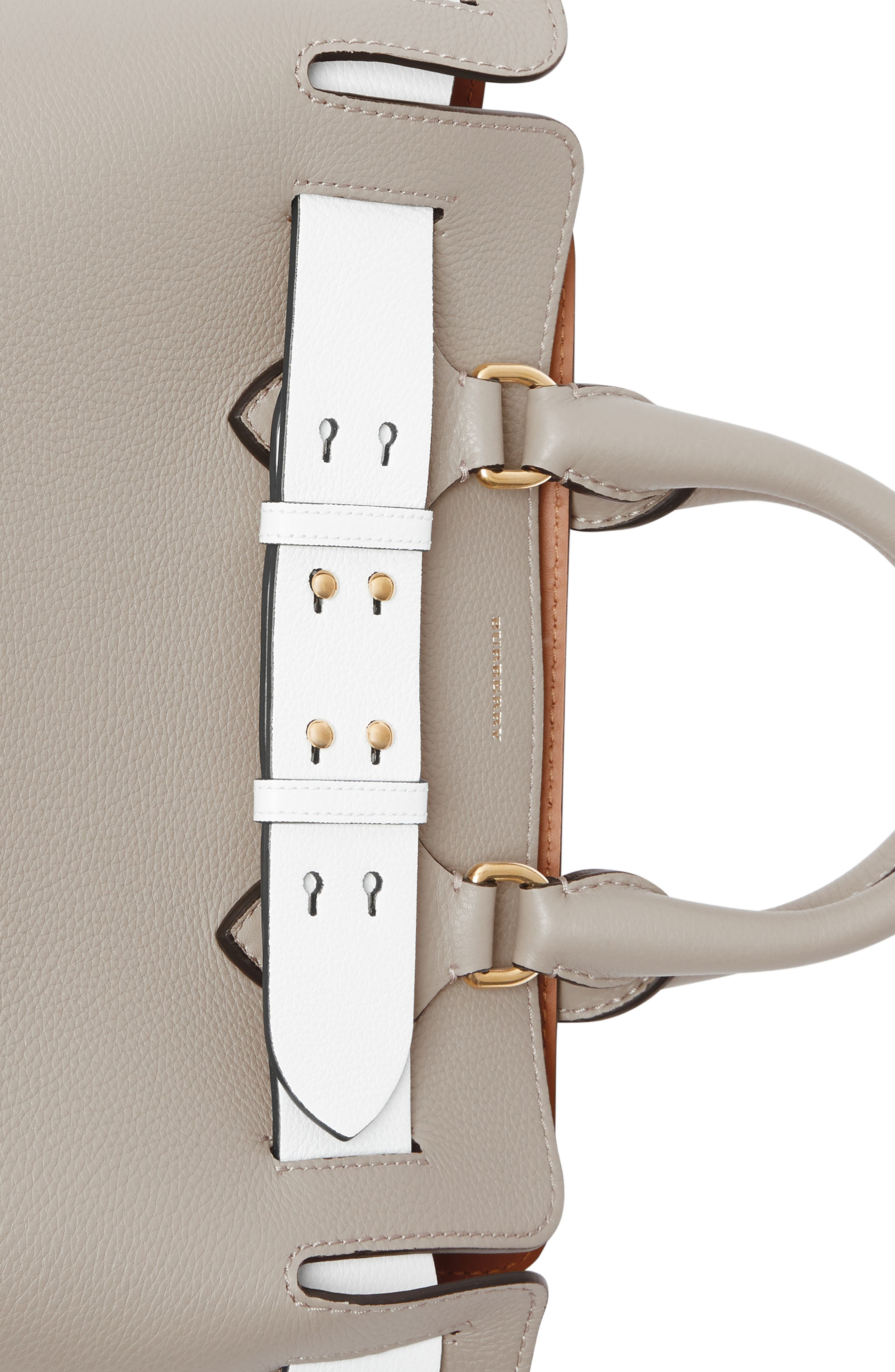 Small Contrast Belt Leather Tote,                             Alternate thumbnail 6, color,                             MINERAL GREY