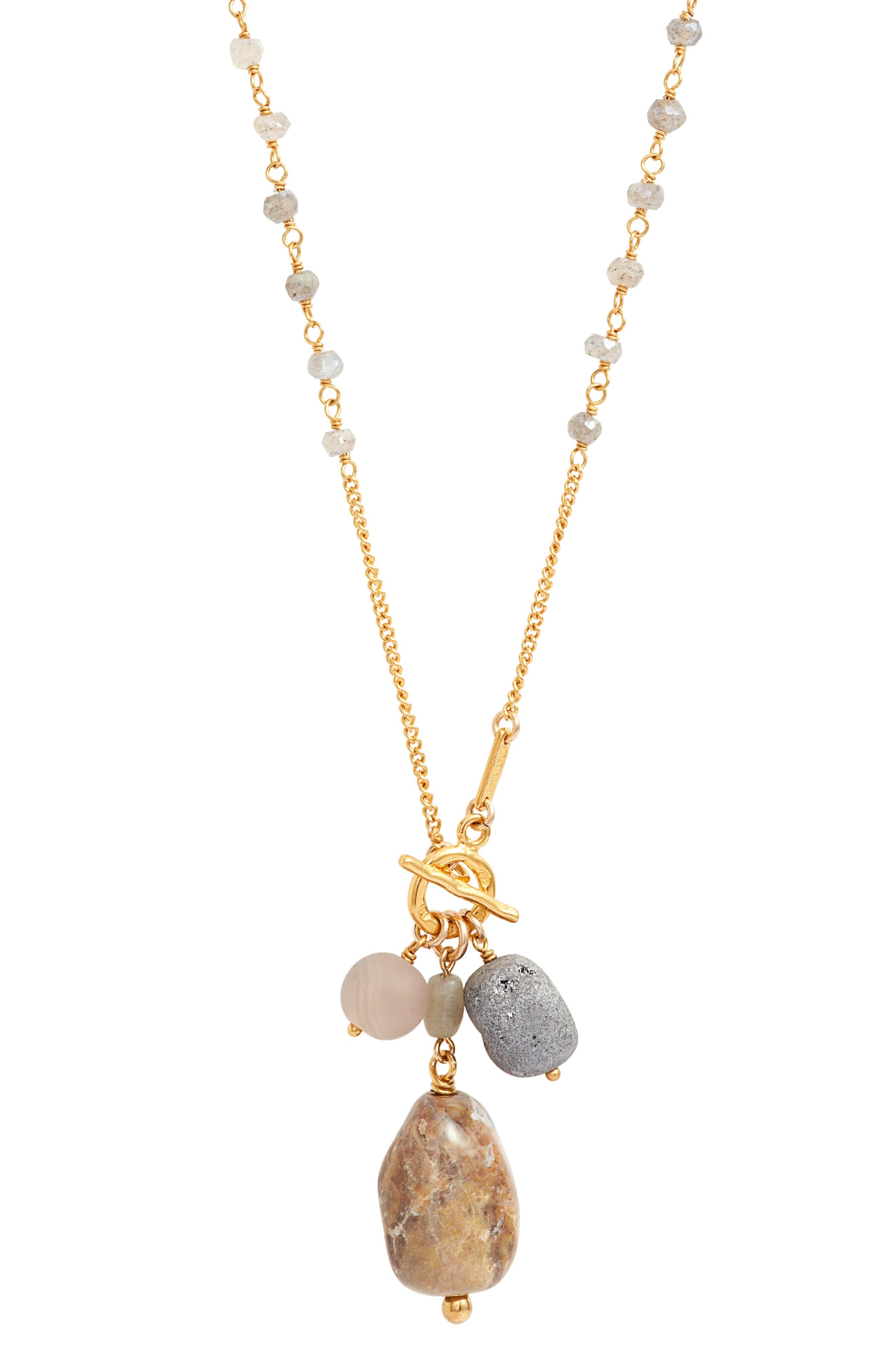 Mixed Stone Pendant Necklace,                             Alternate thumbnail 2, color,                             020