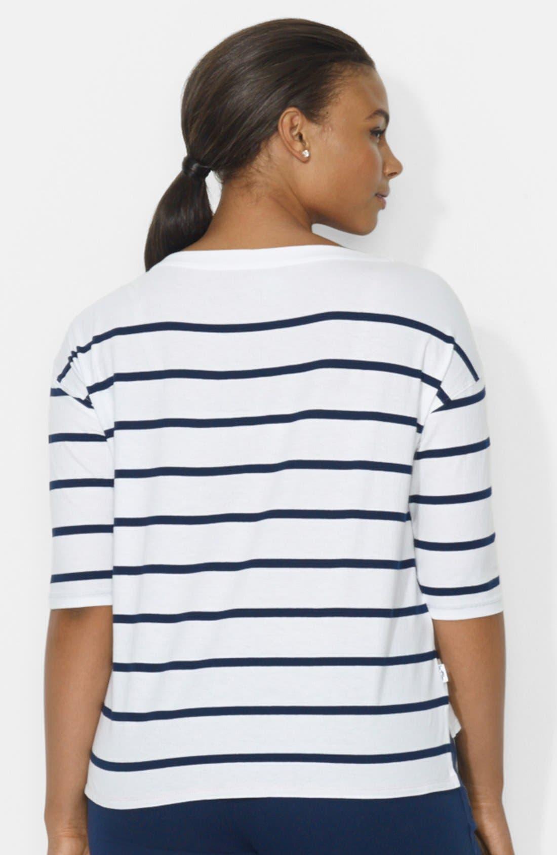 Stripe Drop Shoulder Top,                             Alternate thumbnail 3, color,