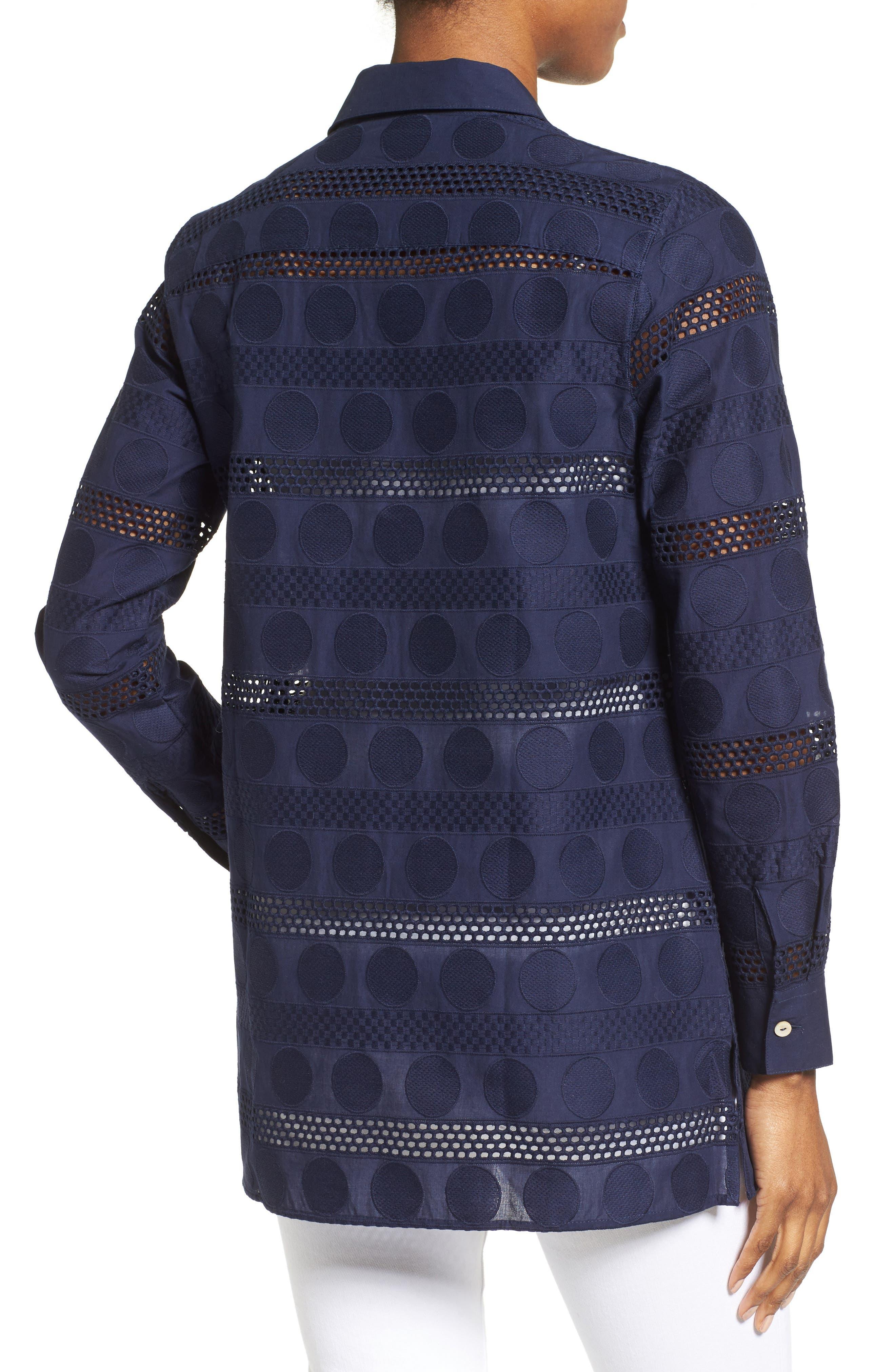 Circle Eyelet Tunic Shirt,                             Alternate thumbnail 2, color,                             415