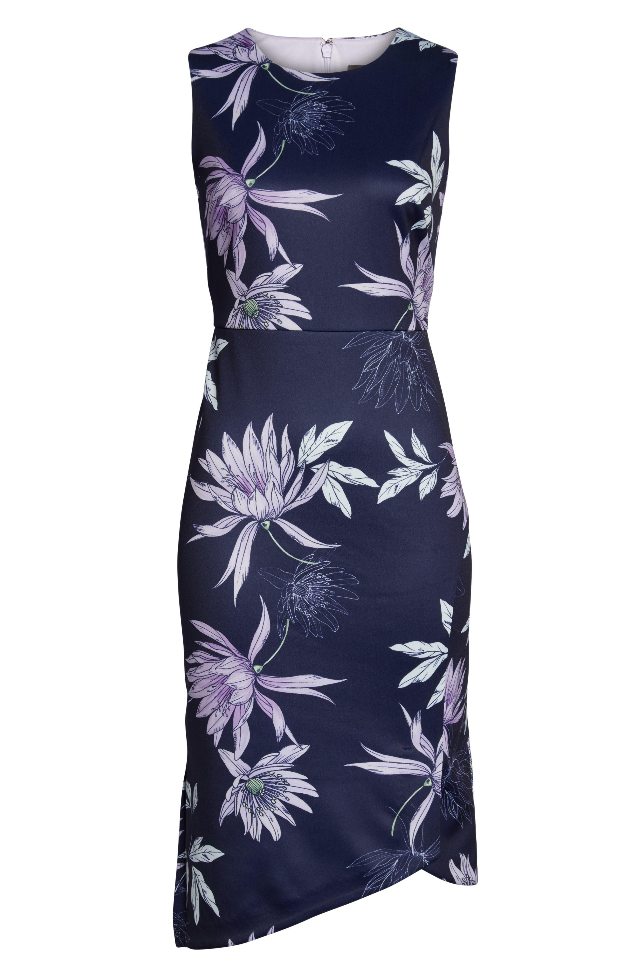 VINCE CAMUTO,                             Floral Print Asymmetrical Hem Dress,                             Alternate thumbnail 7, color,                             NAVY/ MULTI