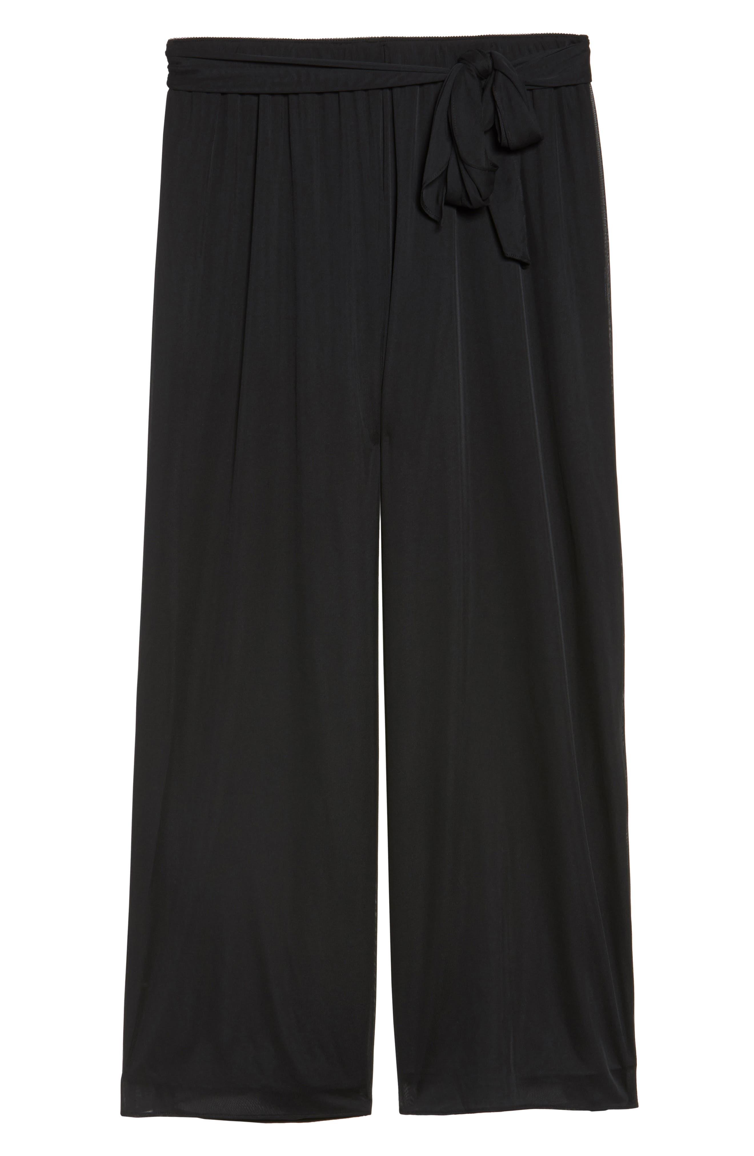High Rise Tie Waist Wide Leg Pants,                             Alternate thumbnail 6, color,                             BLACK