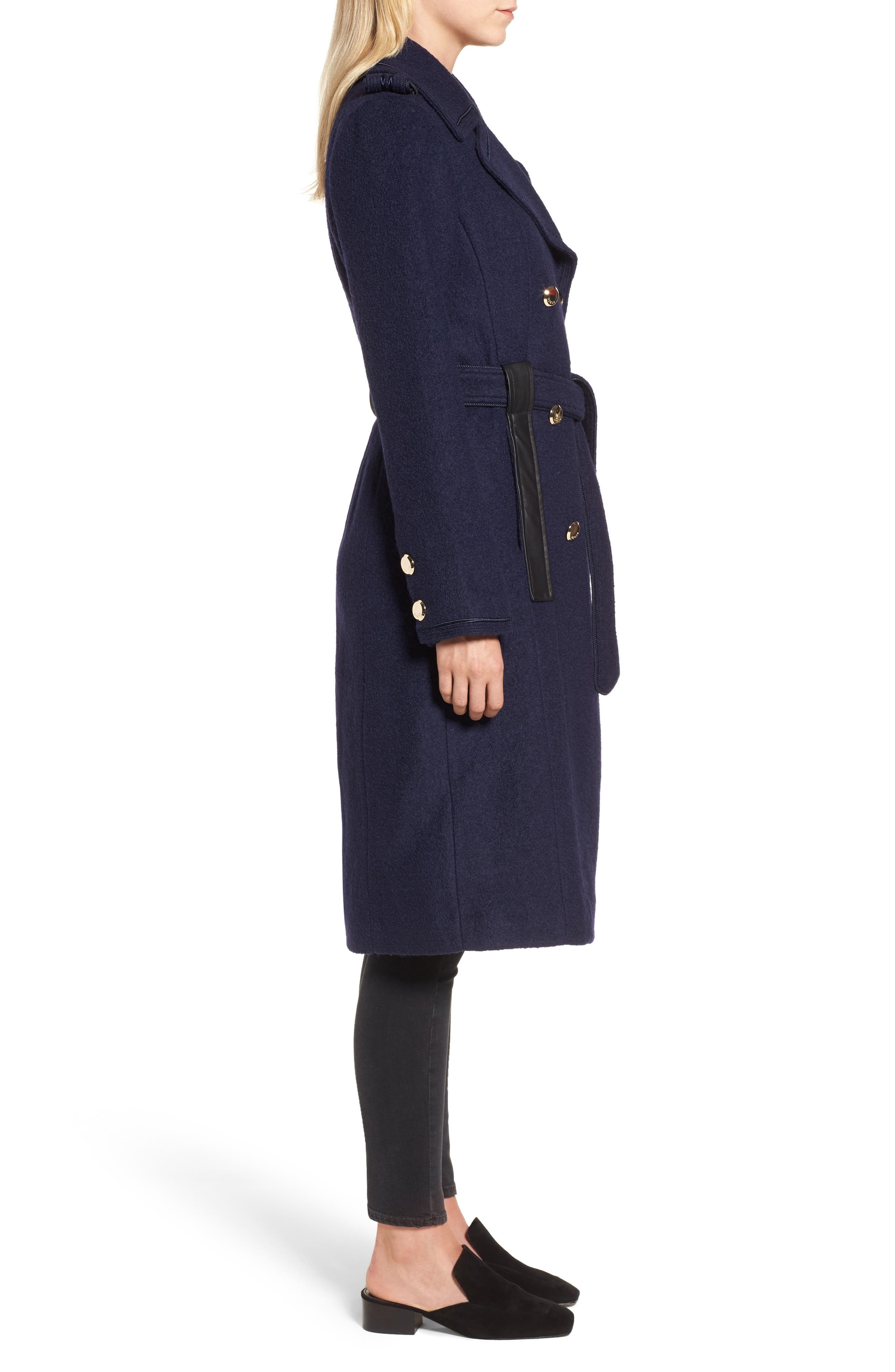Boiled Wool Trench Coat,                             Alternate thumbnail 3, color,                             410