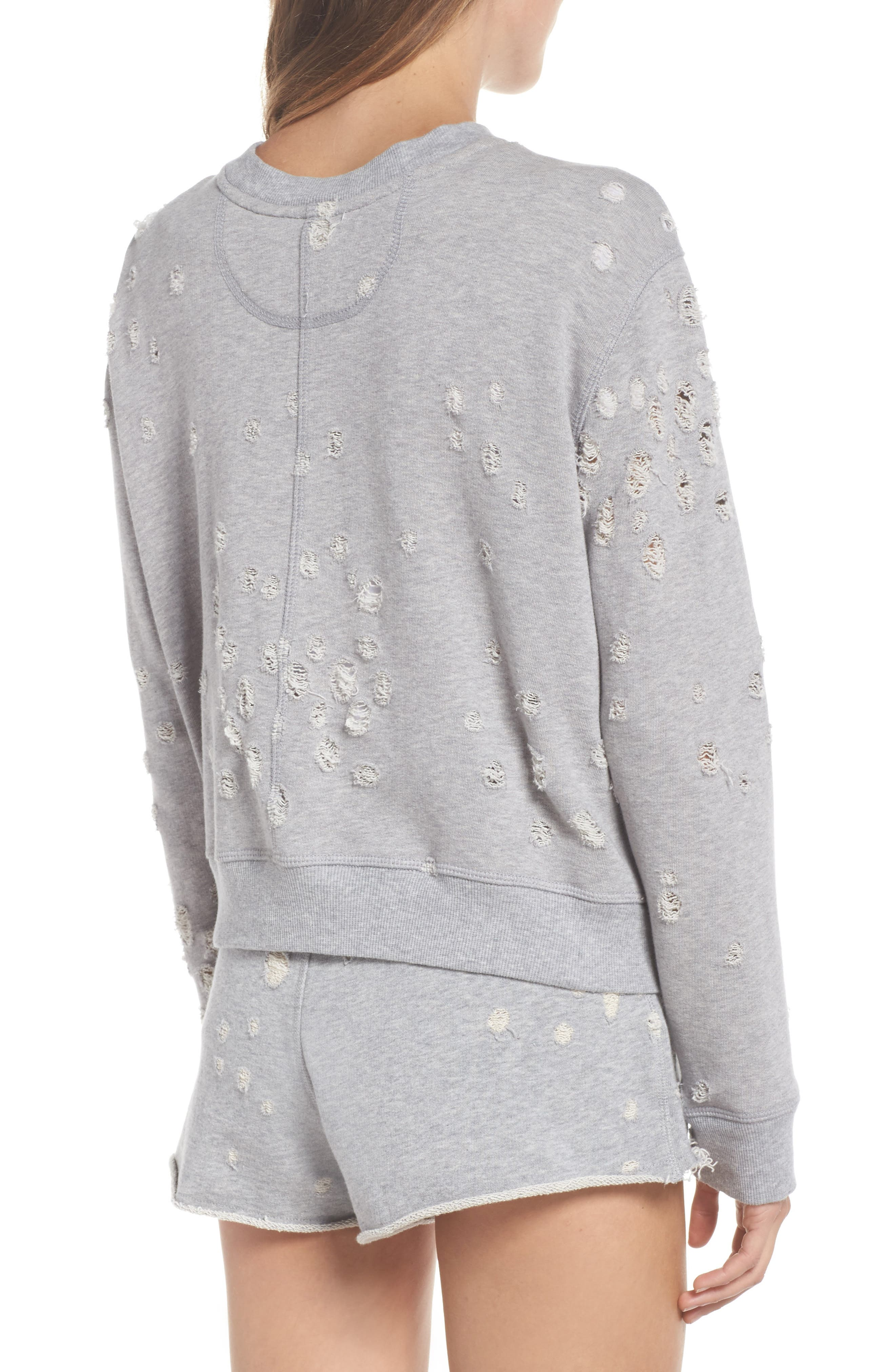 Distressed Zip Sweatshirt,                             Alternate thumbnail 2, color,                             HEATHER GREY