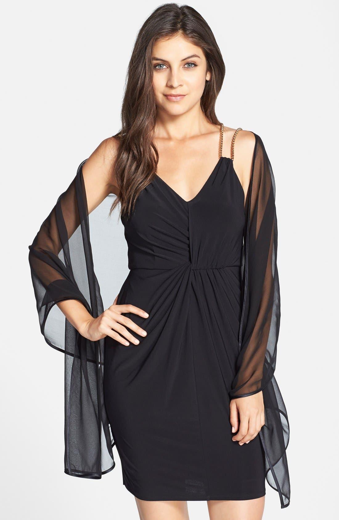 Silk Chiffon Wrap,                         Main,                         color, BLACK