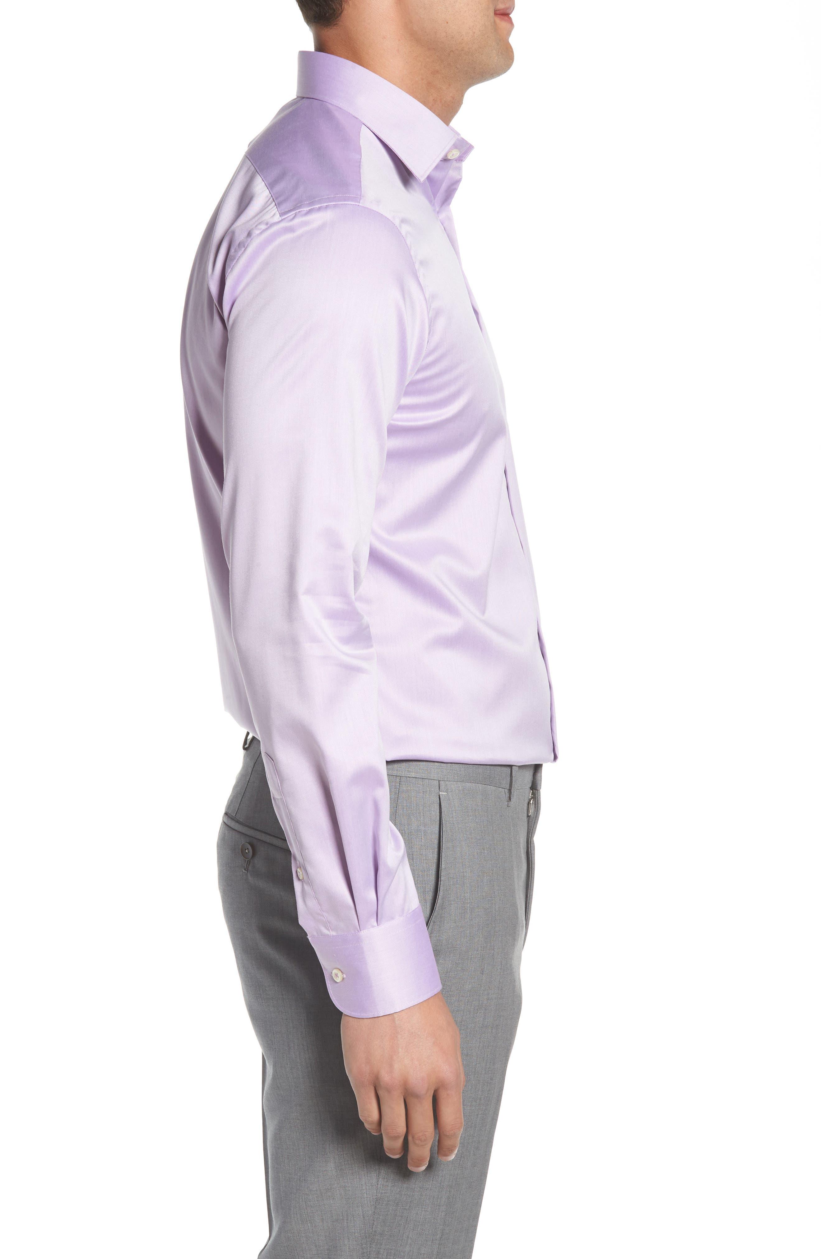 Regular Fit Solid Dress Shirt,                             Alternate thumbnail 4, color,                             PURPLE