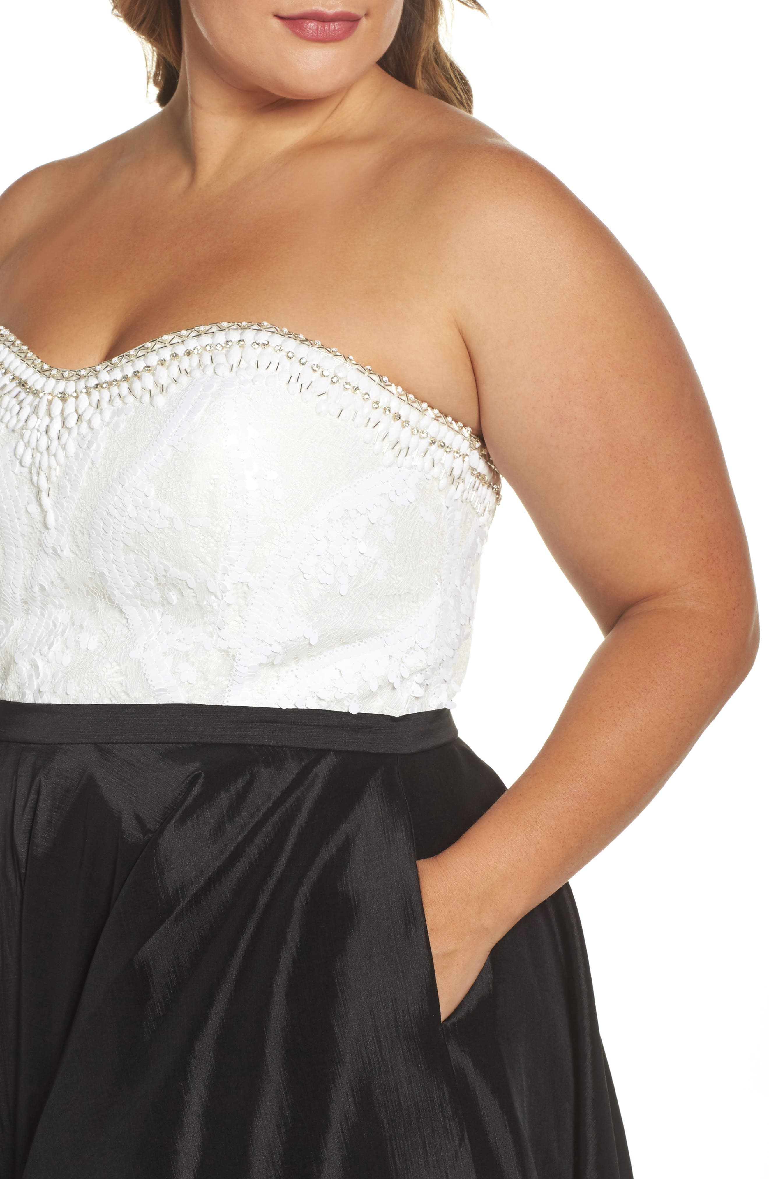 Embellished Lace & Taffeta Strapless High/Low Gown,                             Alternate thumbnail 4, color,                             BLACK/ WHITE