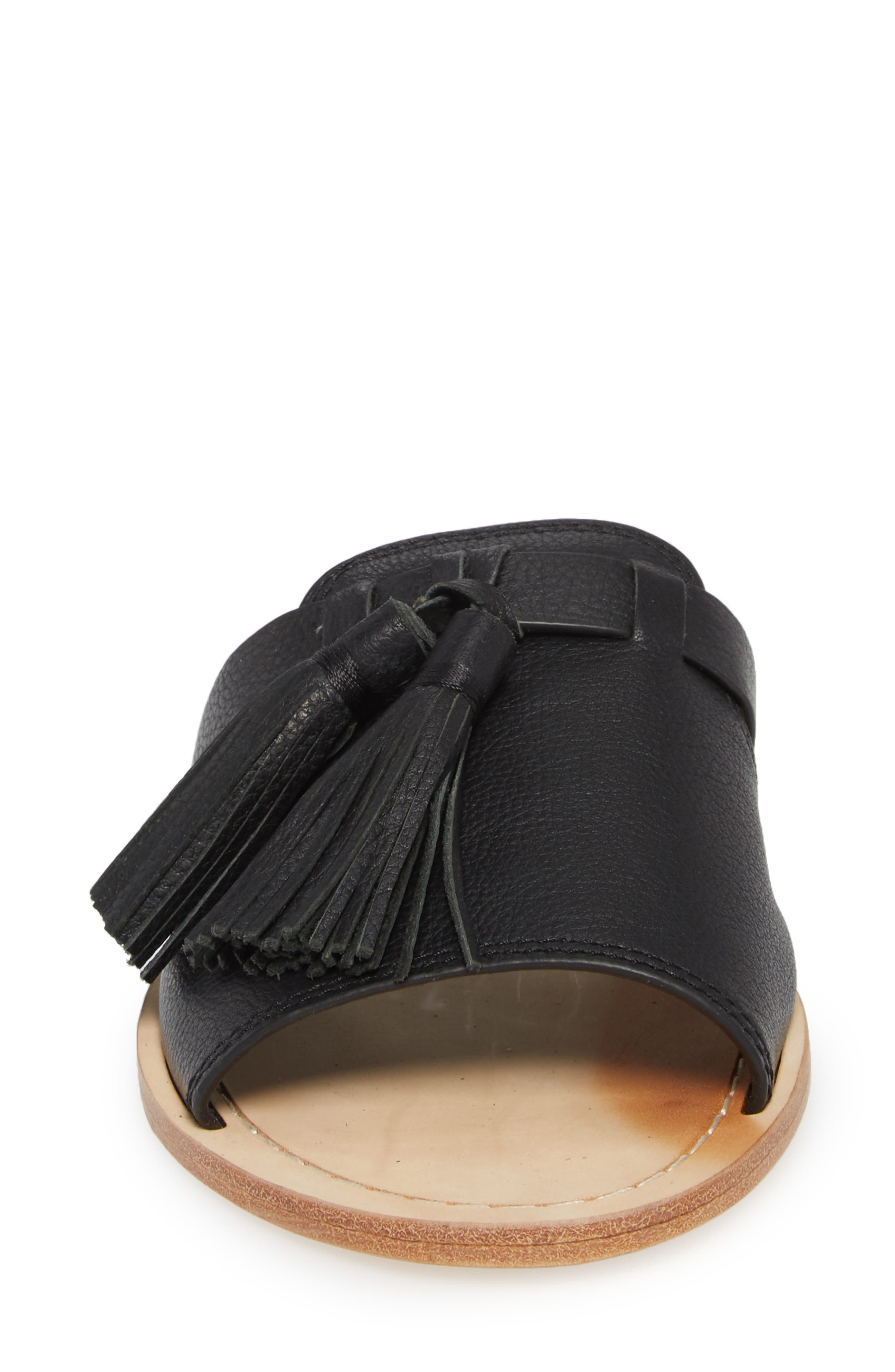 coby tassel slide sandal,                             Alternate thumbnail 4, color,                             001