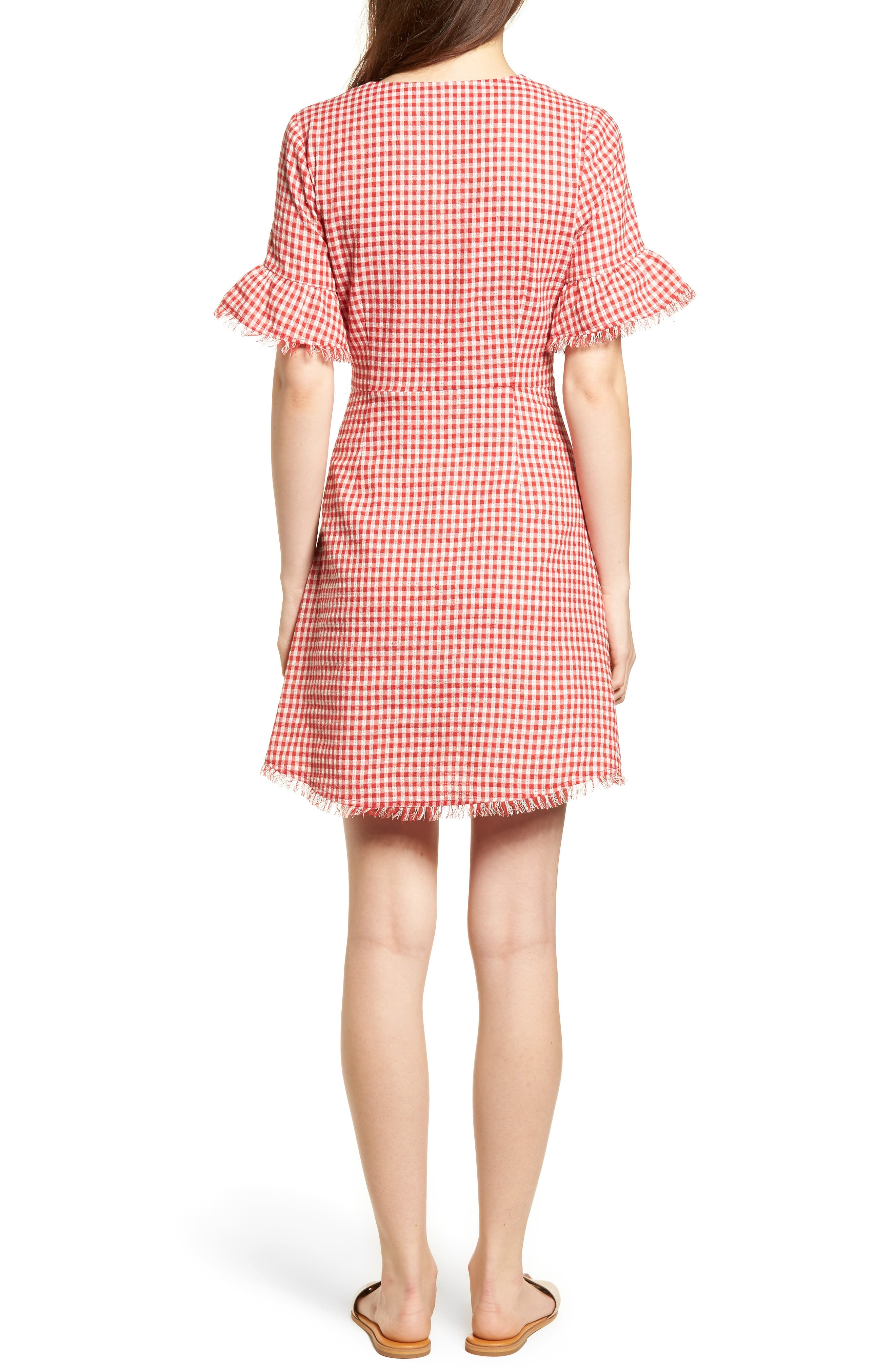 Gingham Ruffle Sleeve Dress,                             Alternate thumbnail 2, color,                             600