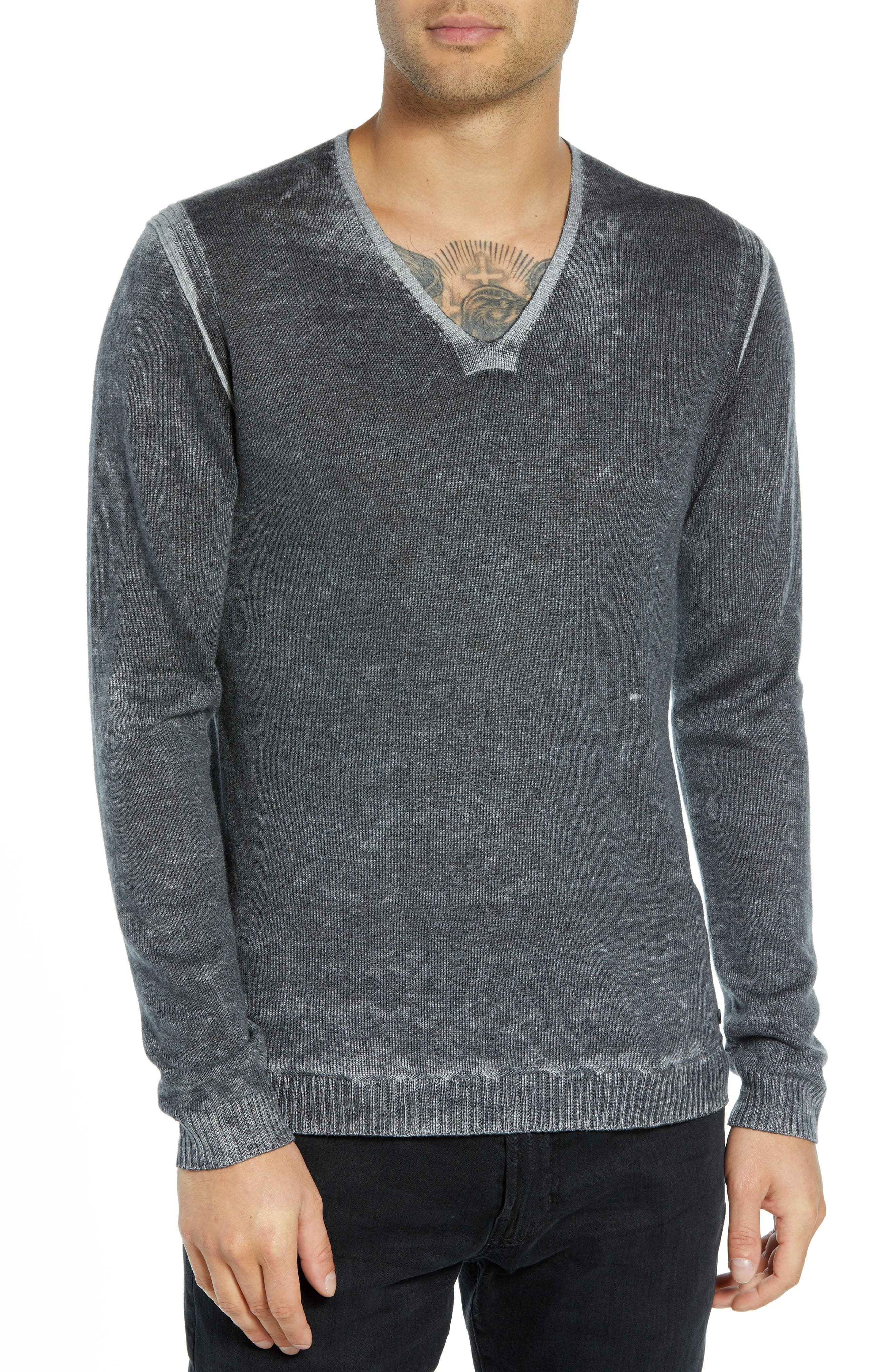V-Neck Sweater,                         Main,                         color, CHARCOAL