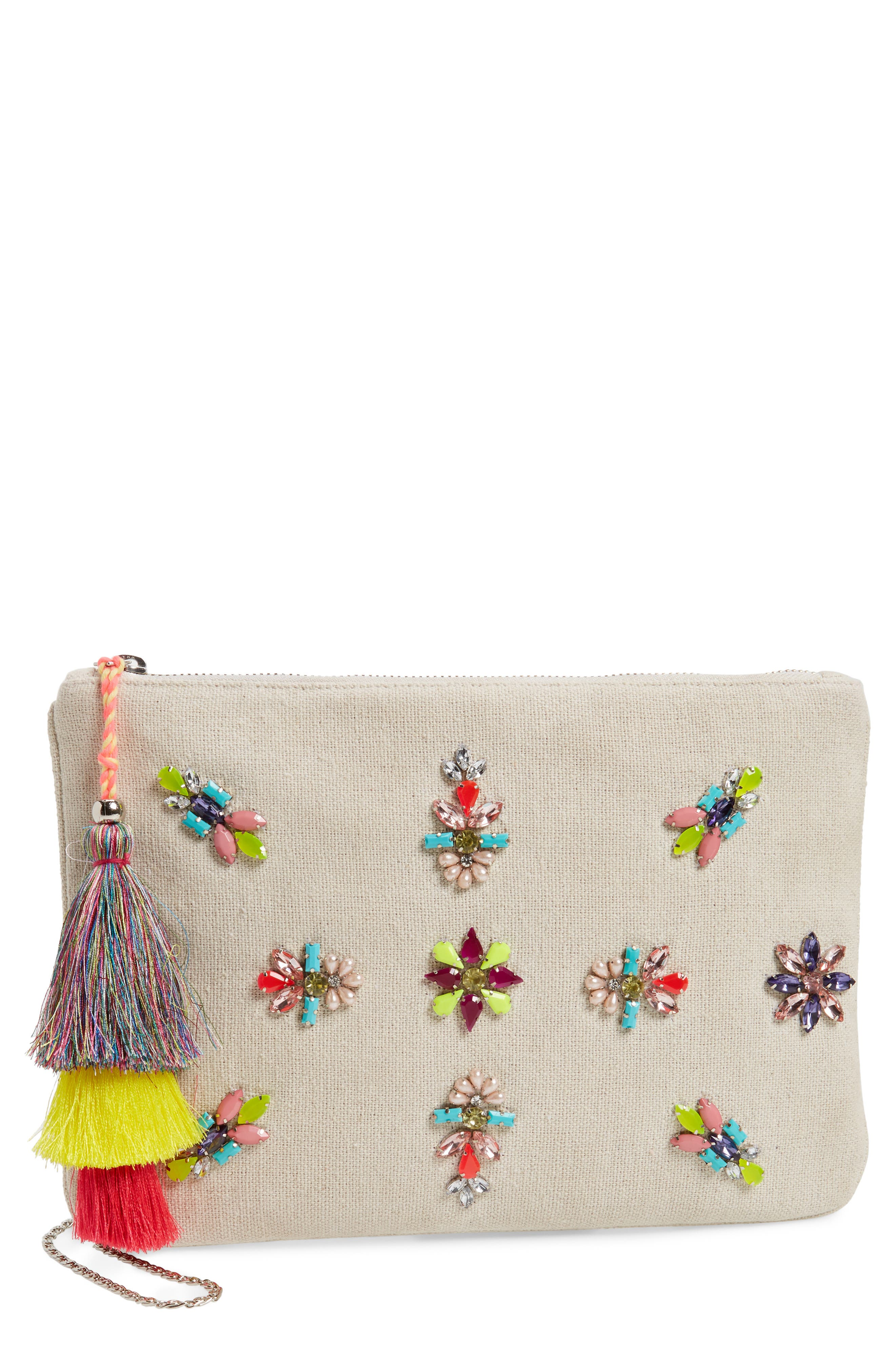 Rhinestone Appliqué Crossbody Clutch,                         Main,                         color, 250