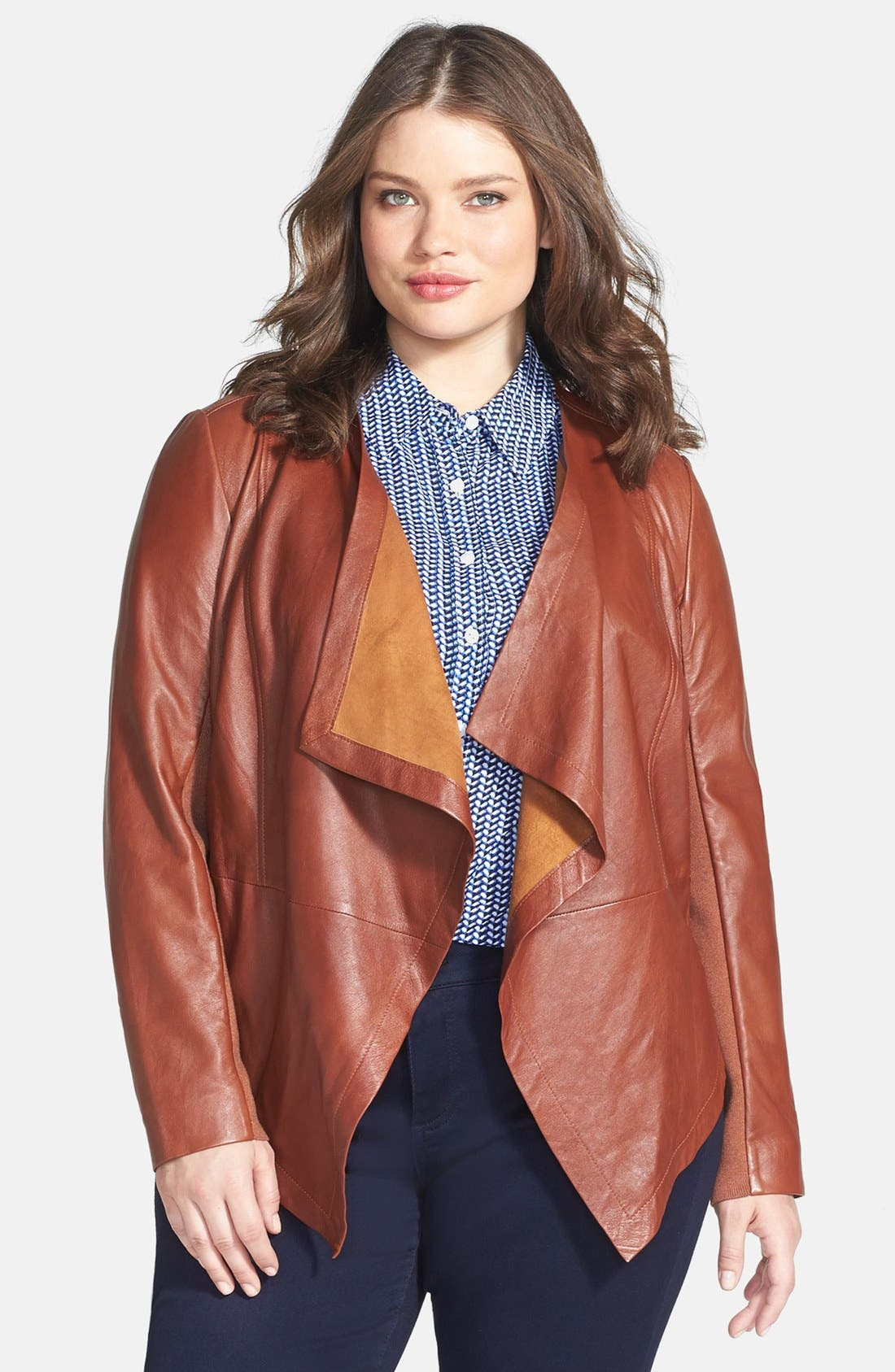 Waterfall Front Leather Jacket,                             Alternate thumbnail 9, color,