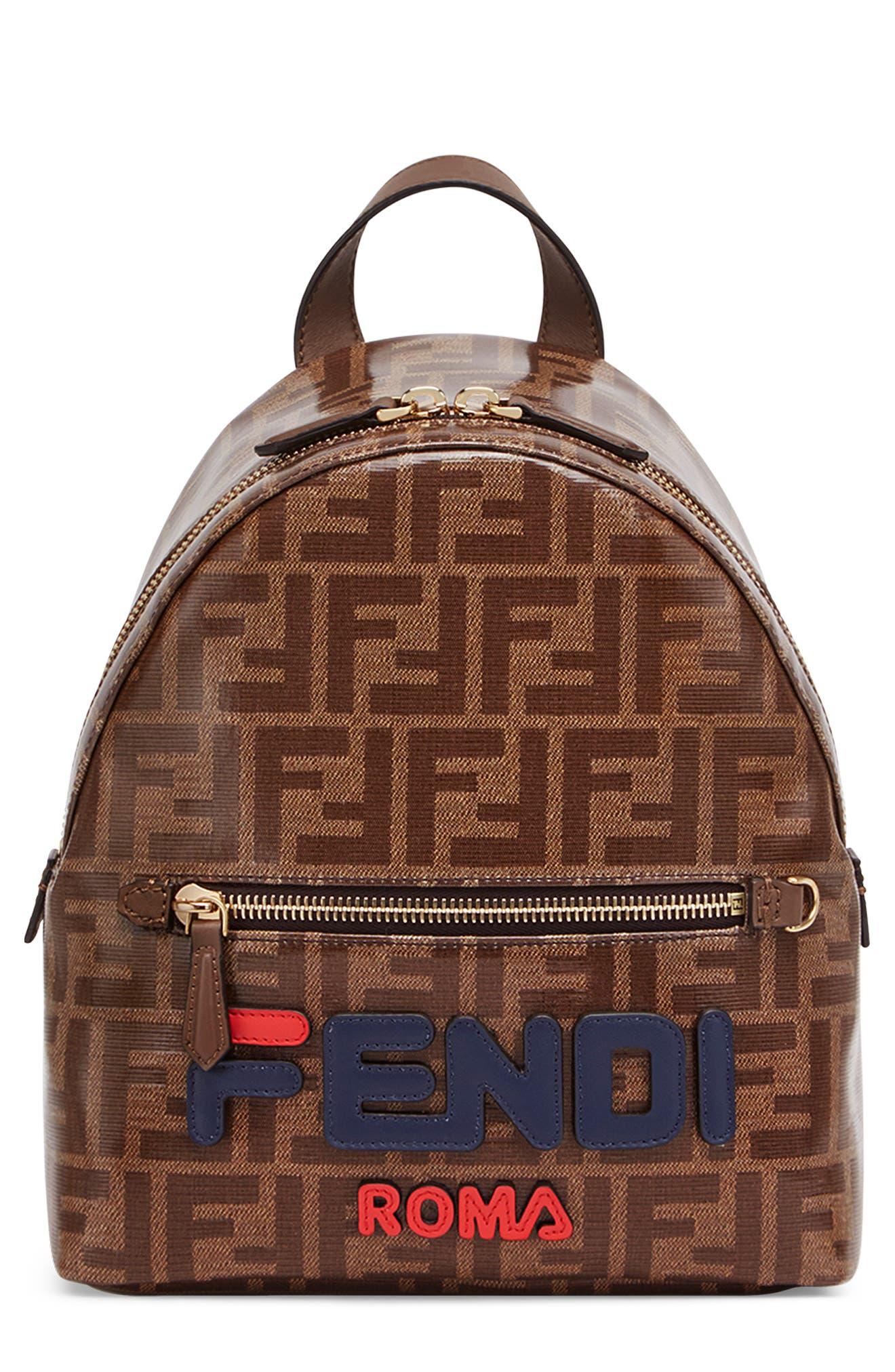 x FILA Large Mania Logo Backpack,                         Main,                         color, MOHOGANY/ BLUE/ BERRY