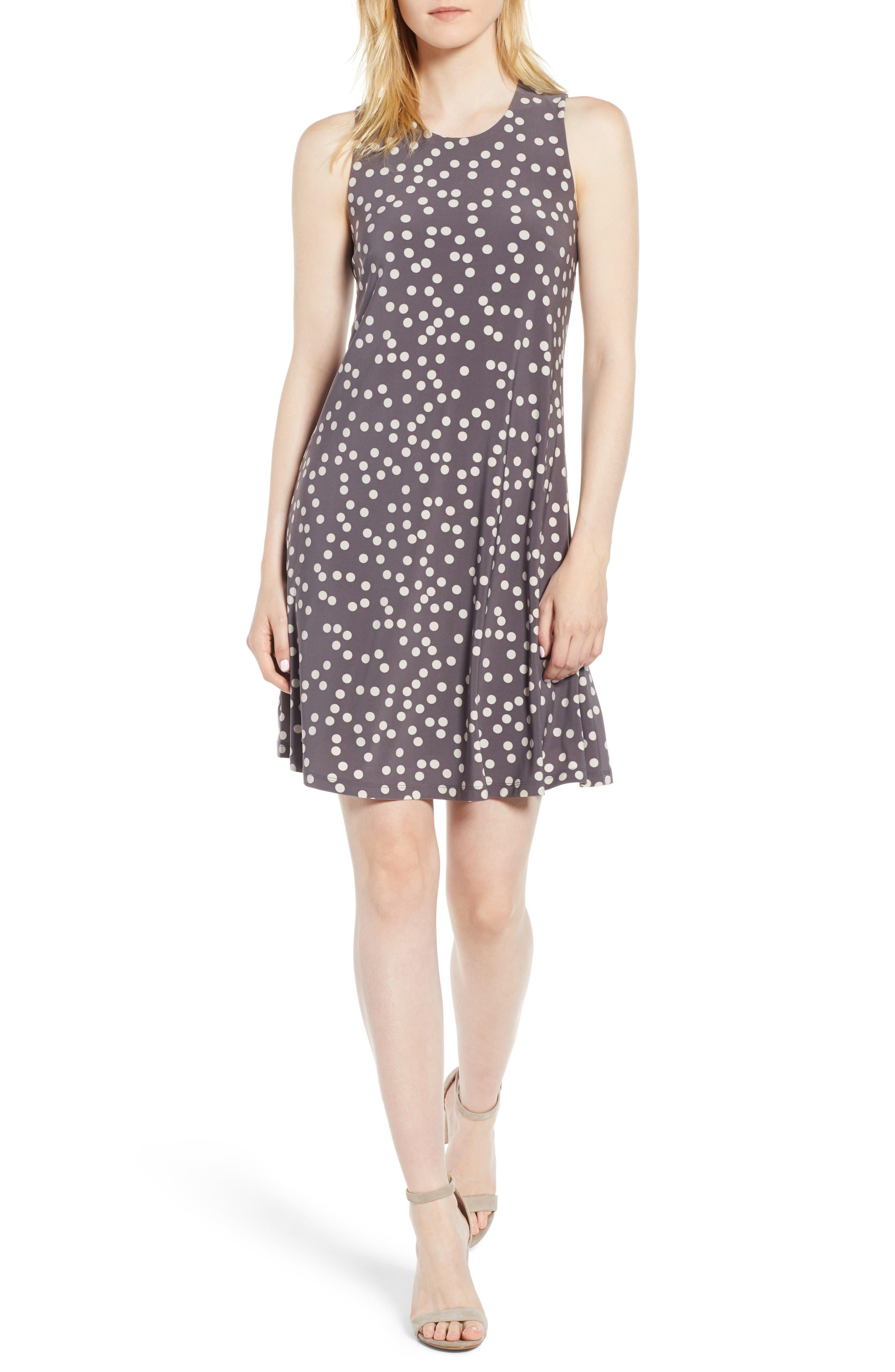 Dot Print Swing Dress,                             Main thumbnail 1, color,                             NANTUCKET GREY/ OYSTER SHELL