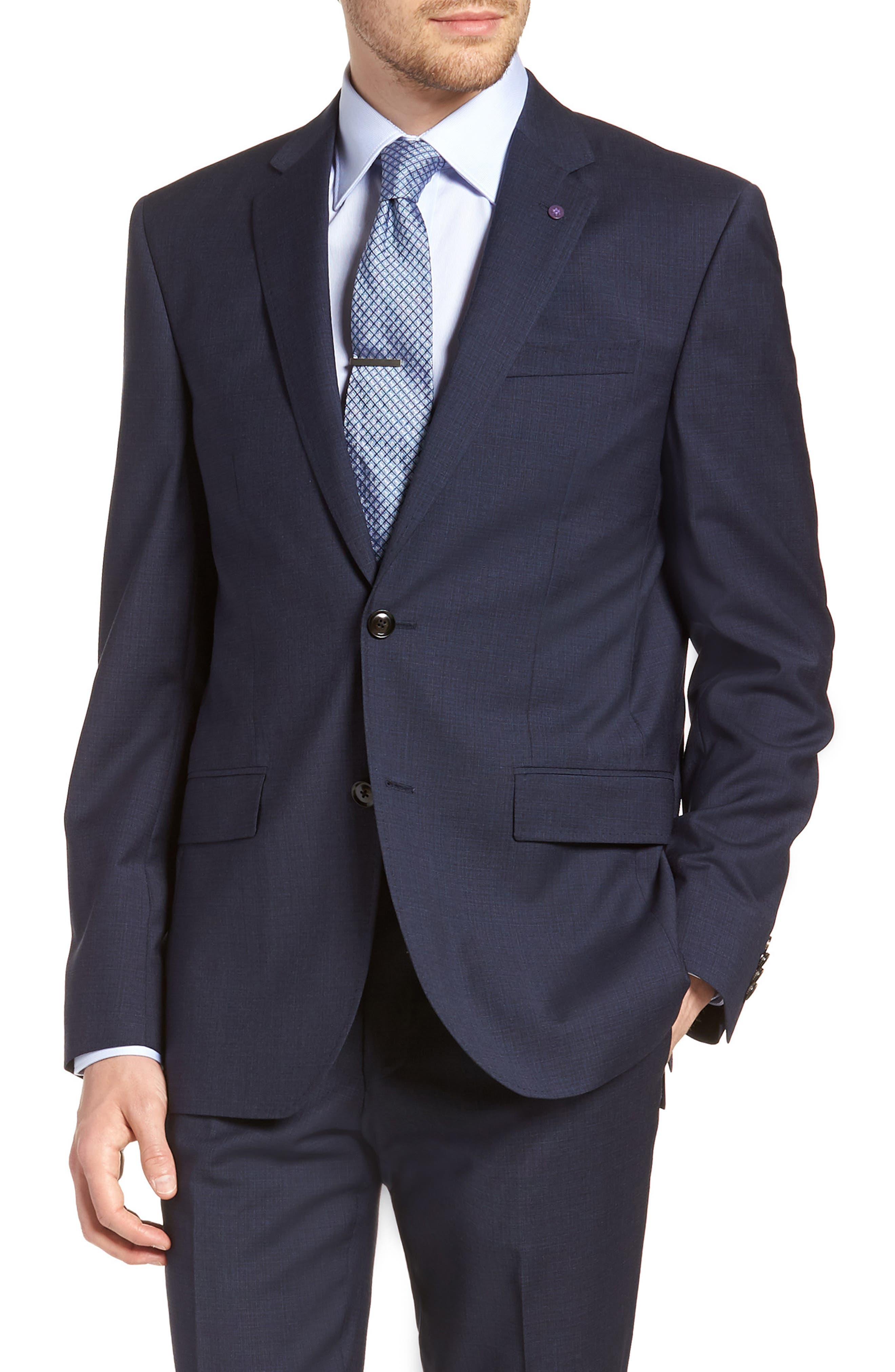 Jay Trim Fit Solid Wool Suit,                             Alternate thumbnail 5, color,                             BLUE