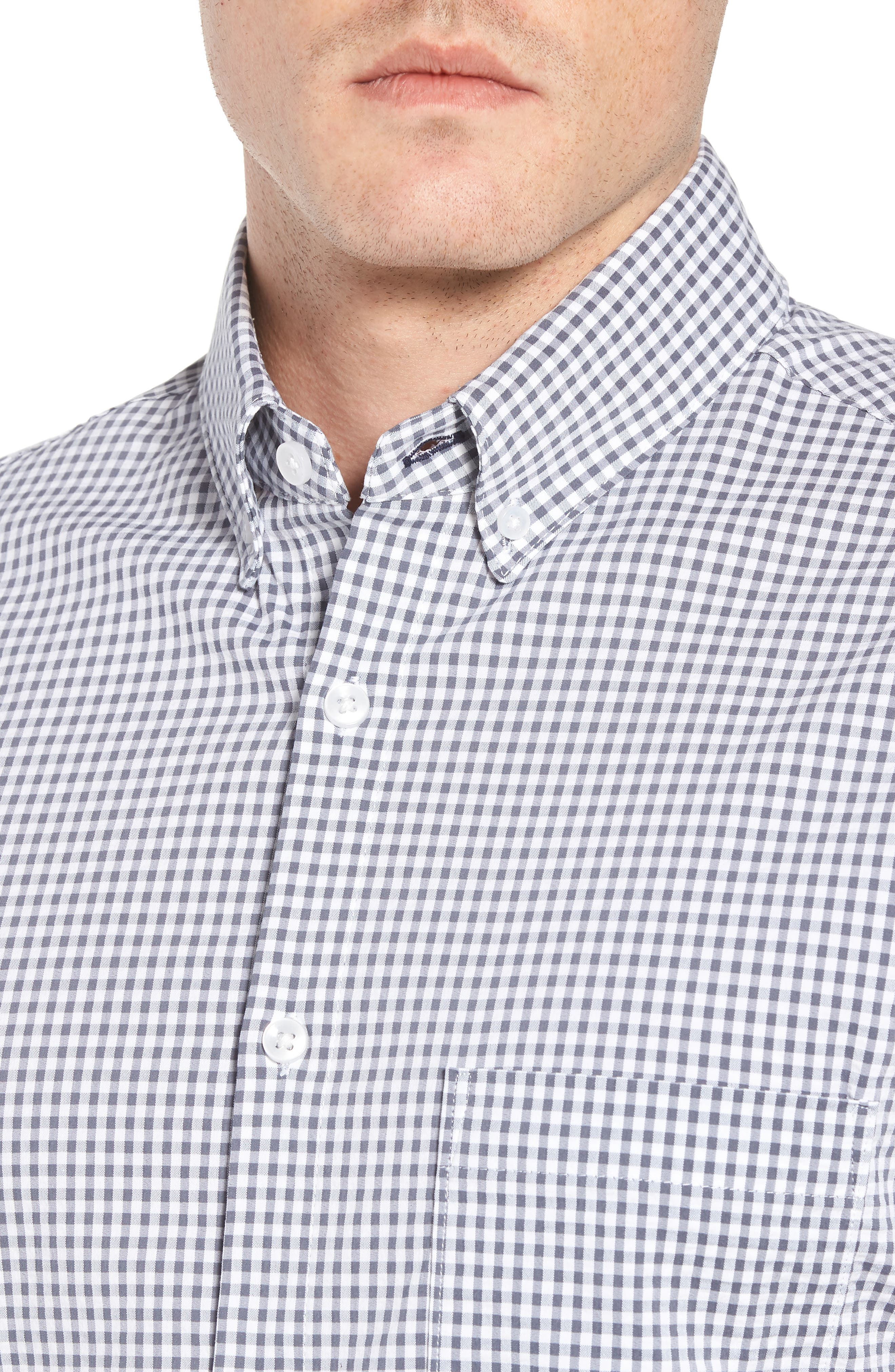 Harrison Seersucker Check Performance Sport Shirt,                             Alternate thumbnail 4, color,                             NAVY