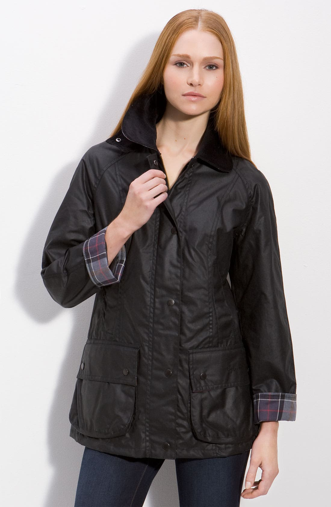 Beadnell Waxed Cotton Jacket,                         Main,                         color, BLACK