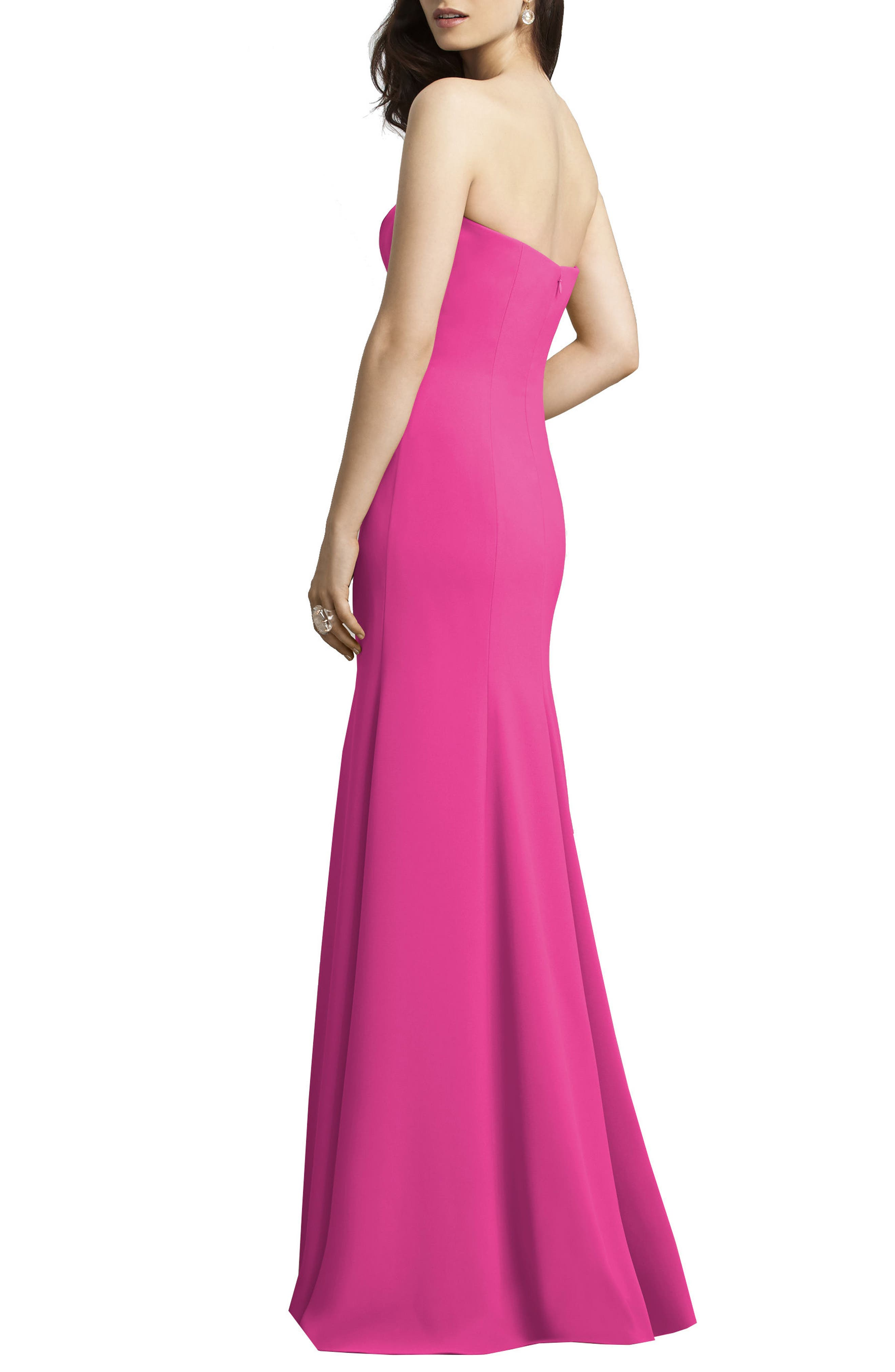 Strapless Crepe Trumpet Gown,                             Alternate thumbnail 9, color,