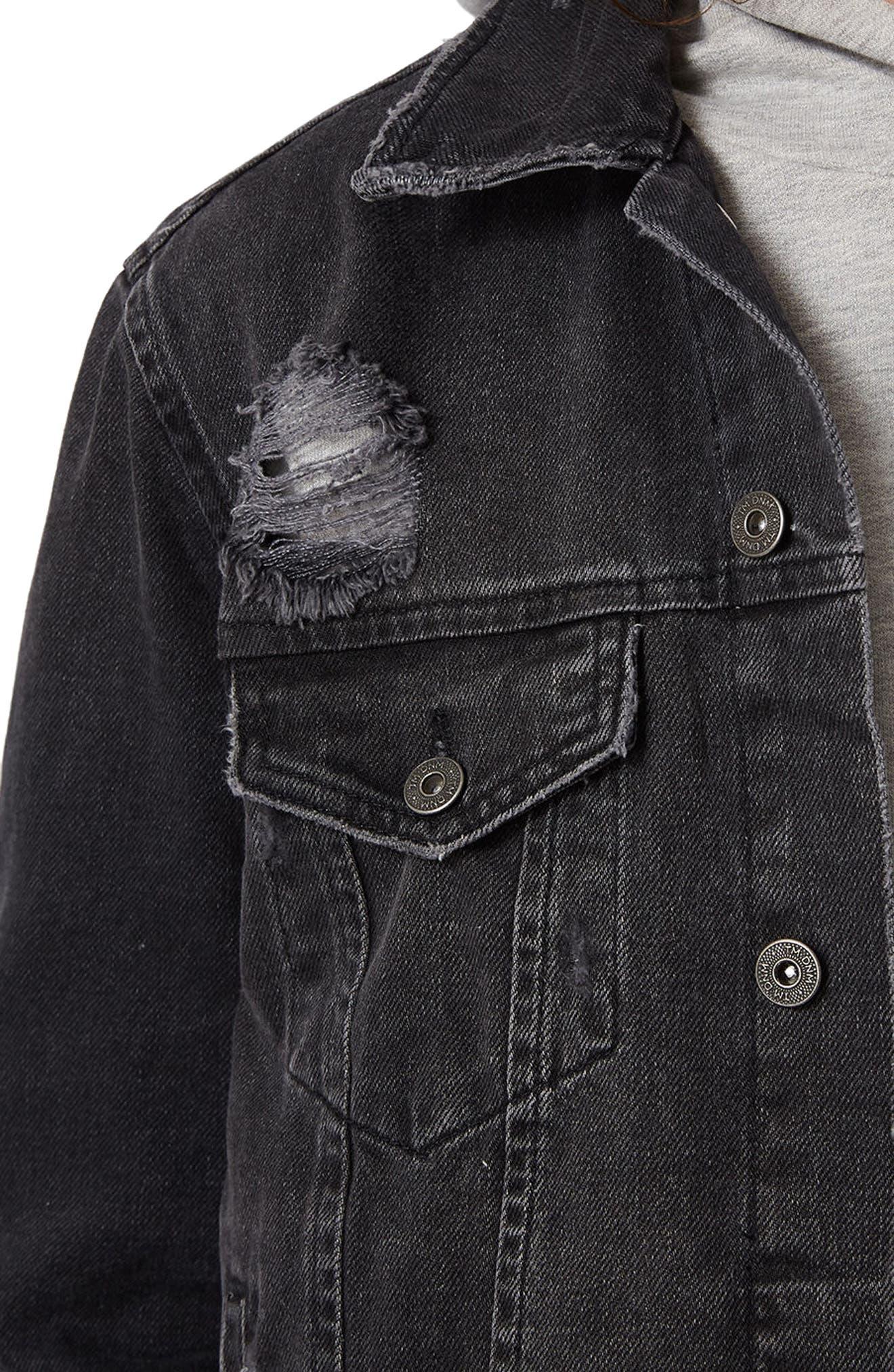 Distressed Denim Jacket,                             Alternate thumbnail 4, color,                             001