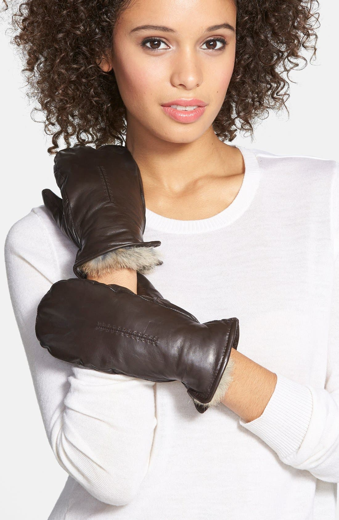 Genuine Rabbit Fur Lined Leather Mittens,                             Main thumbnail 2, color,