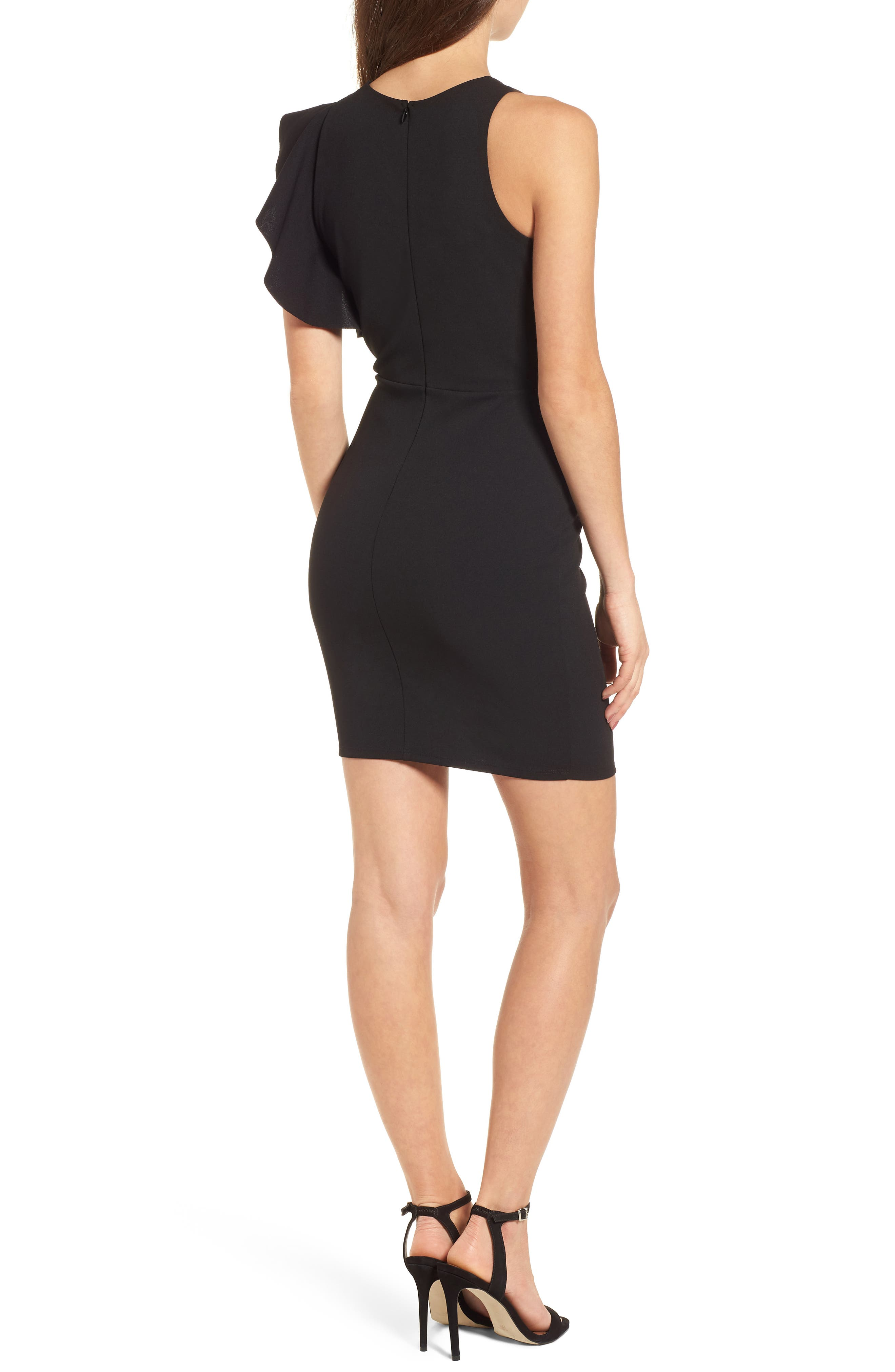 Ruffle Sleeve Body-Con Dress,                             Alternate thumbnail 2, color,                             001