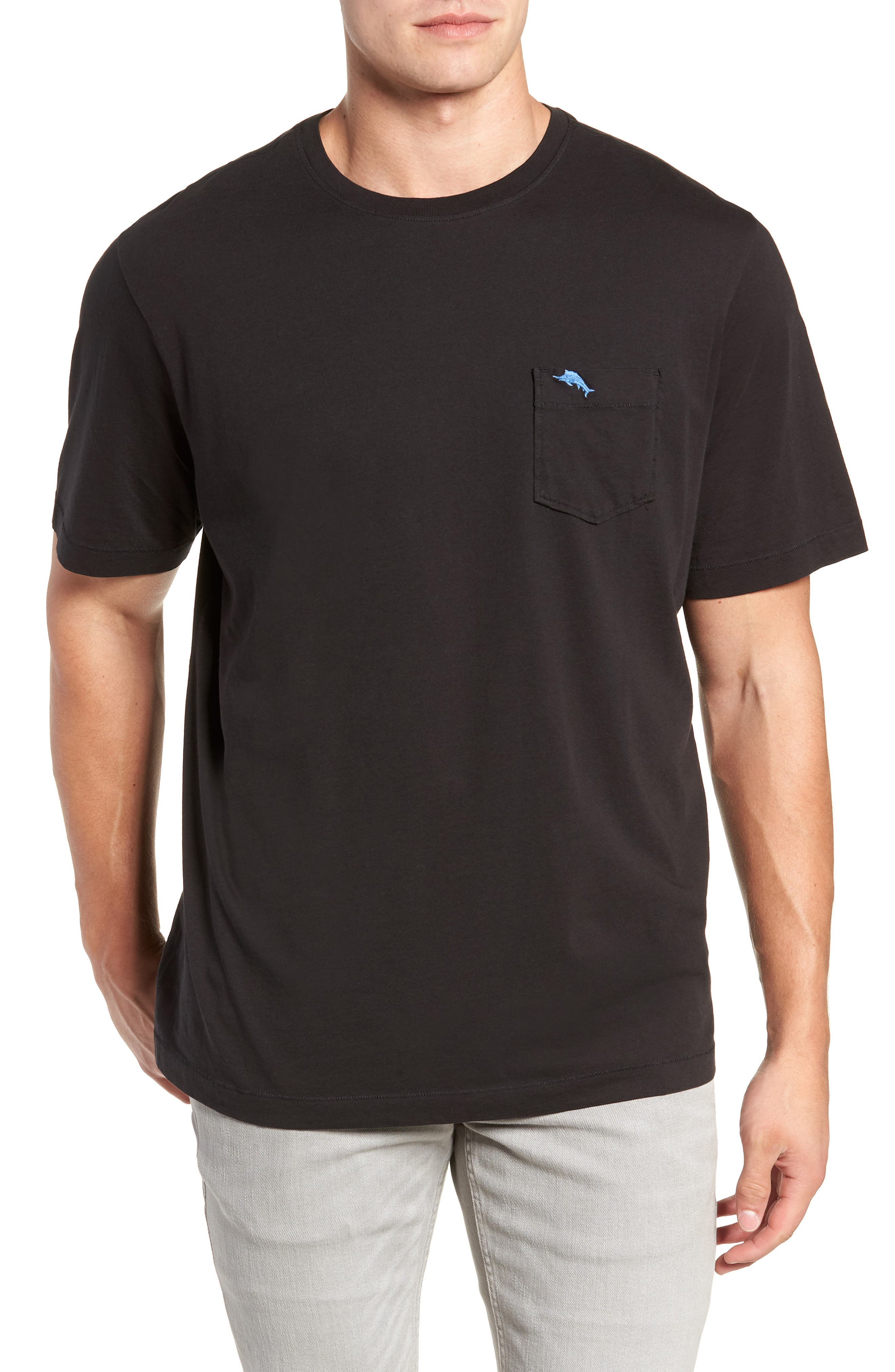 'New Bali Sky' Original Fit Crewneck Pocket T-Shirt,                             Main thumbnail 1, color,                             BLACK