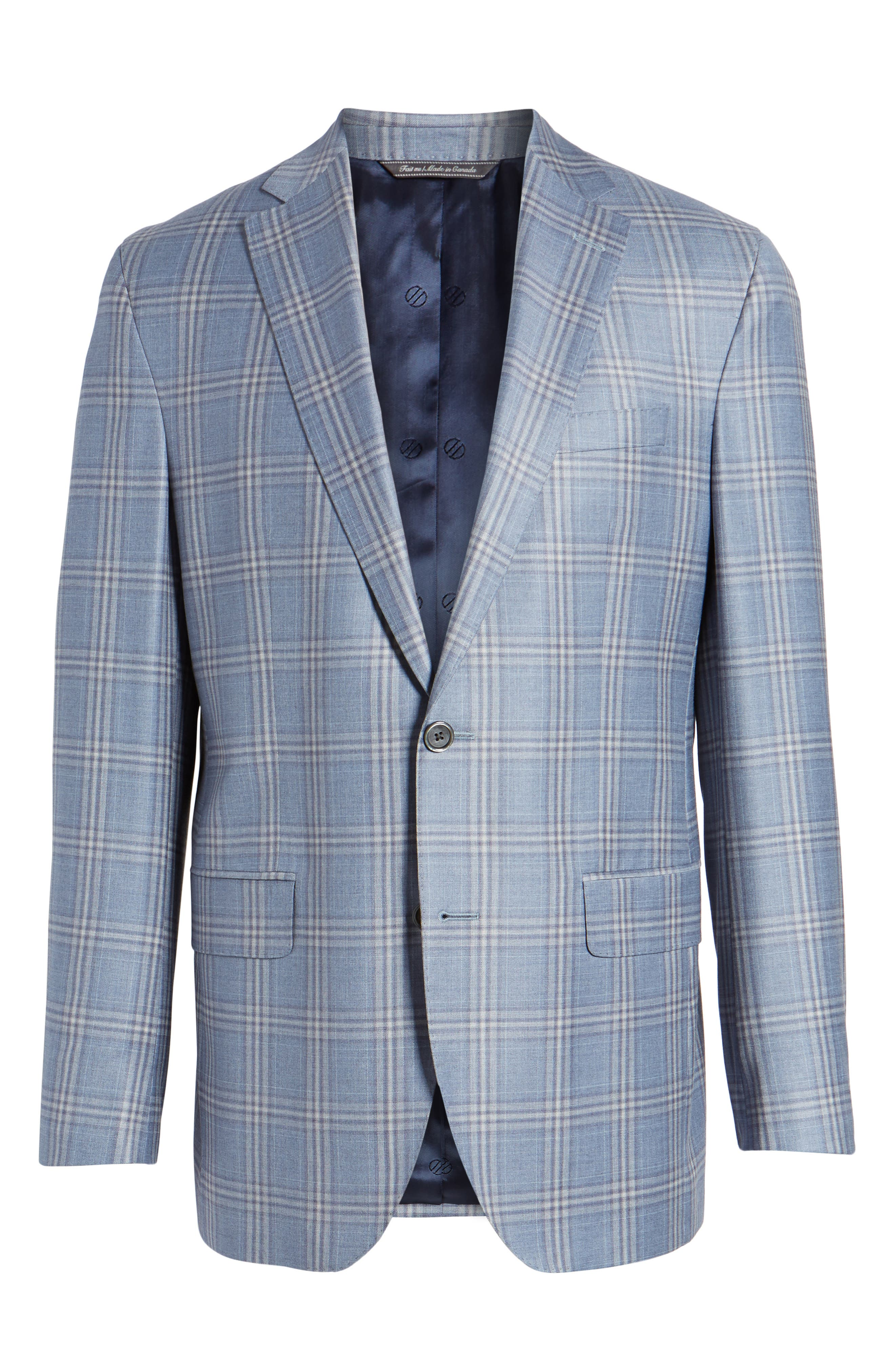 Arnold Classic Fit Plaid Wool Sport Coat,                             Alternate thumbnail 5, color,                             400