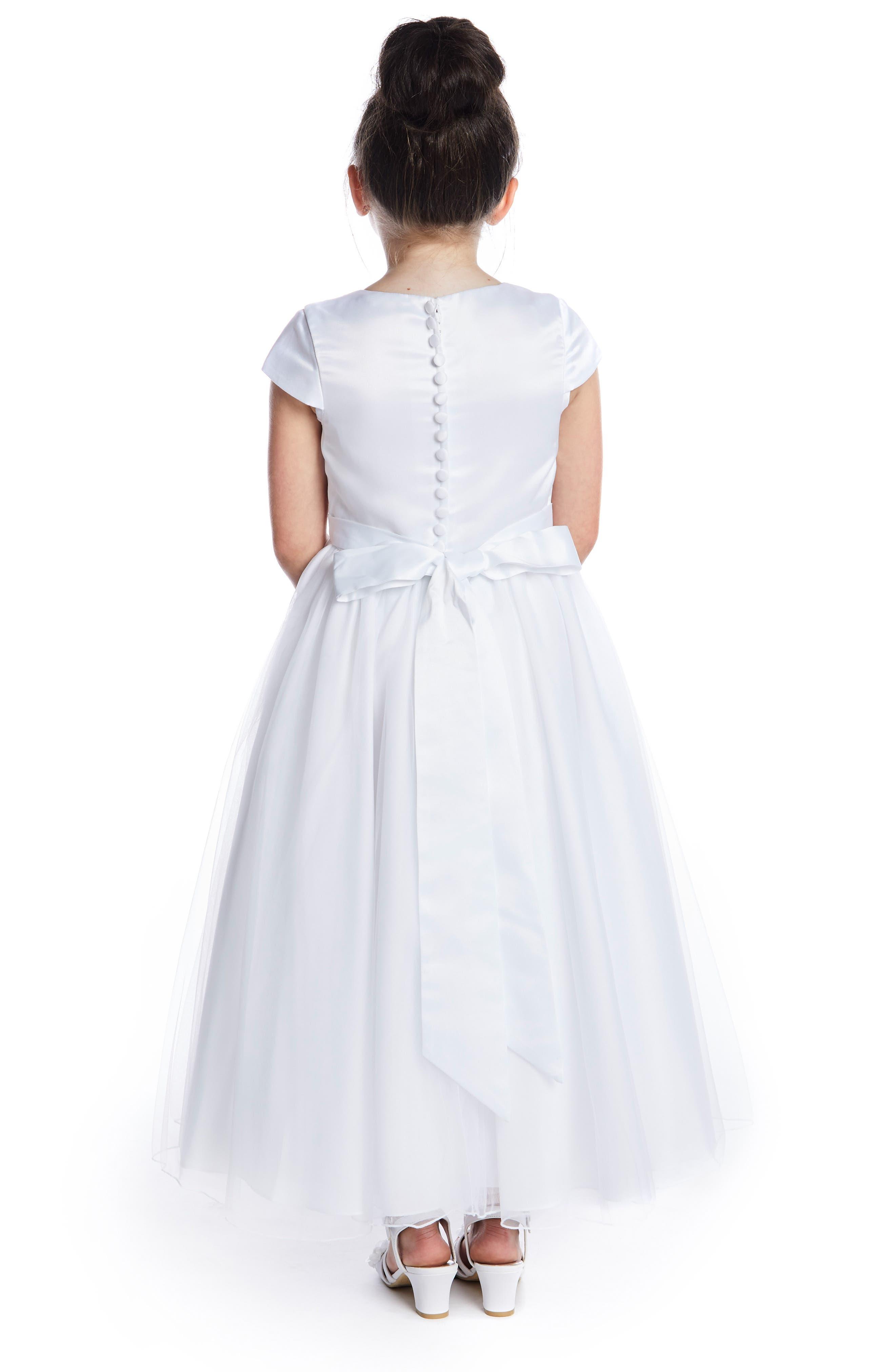 LAUREN MARIE,                             Beaded Lace First Communion Dress,                             Alternate thumbnail 3, color,                             WHITE
