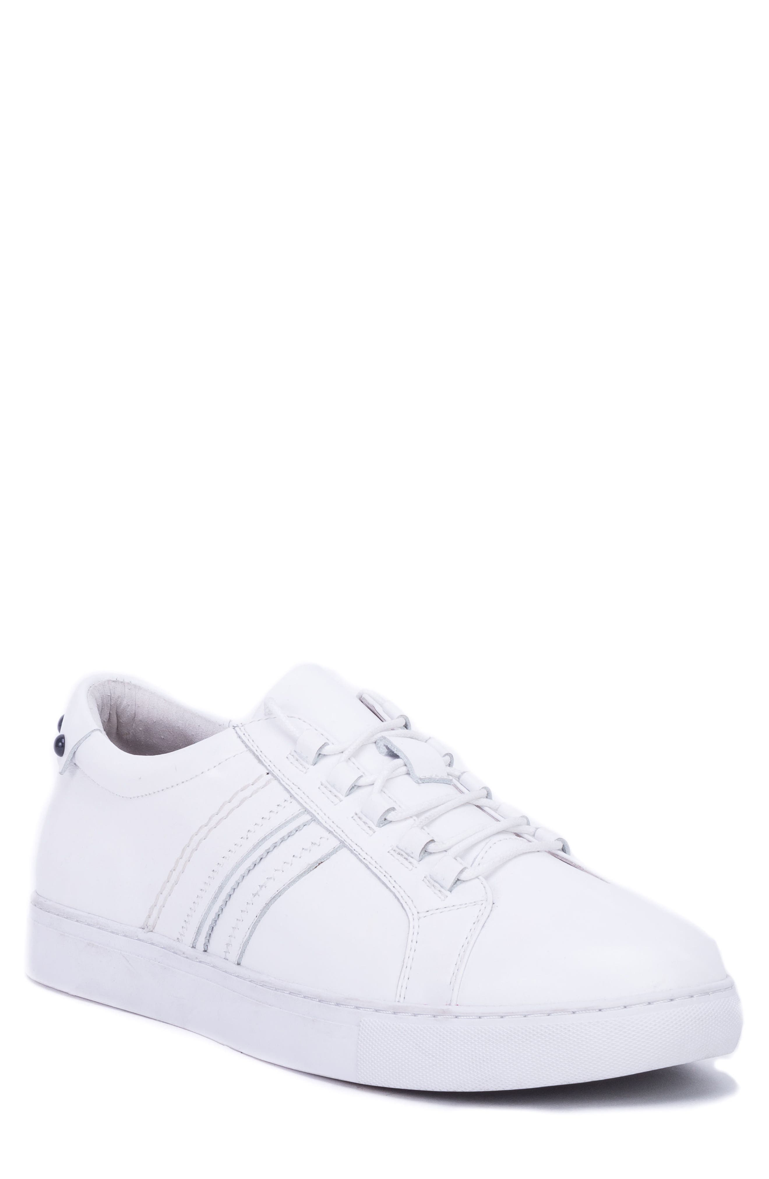 Horton Studded Low Top Sneaker,                         Main,                         color, WHITE LEATHER